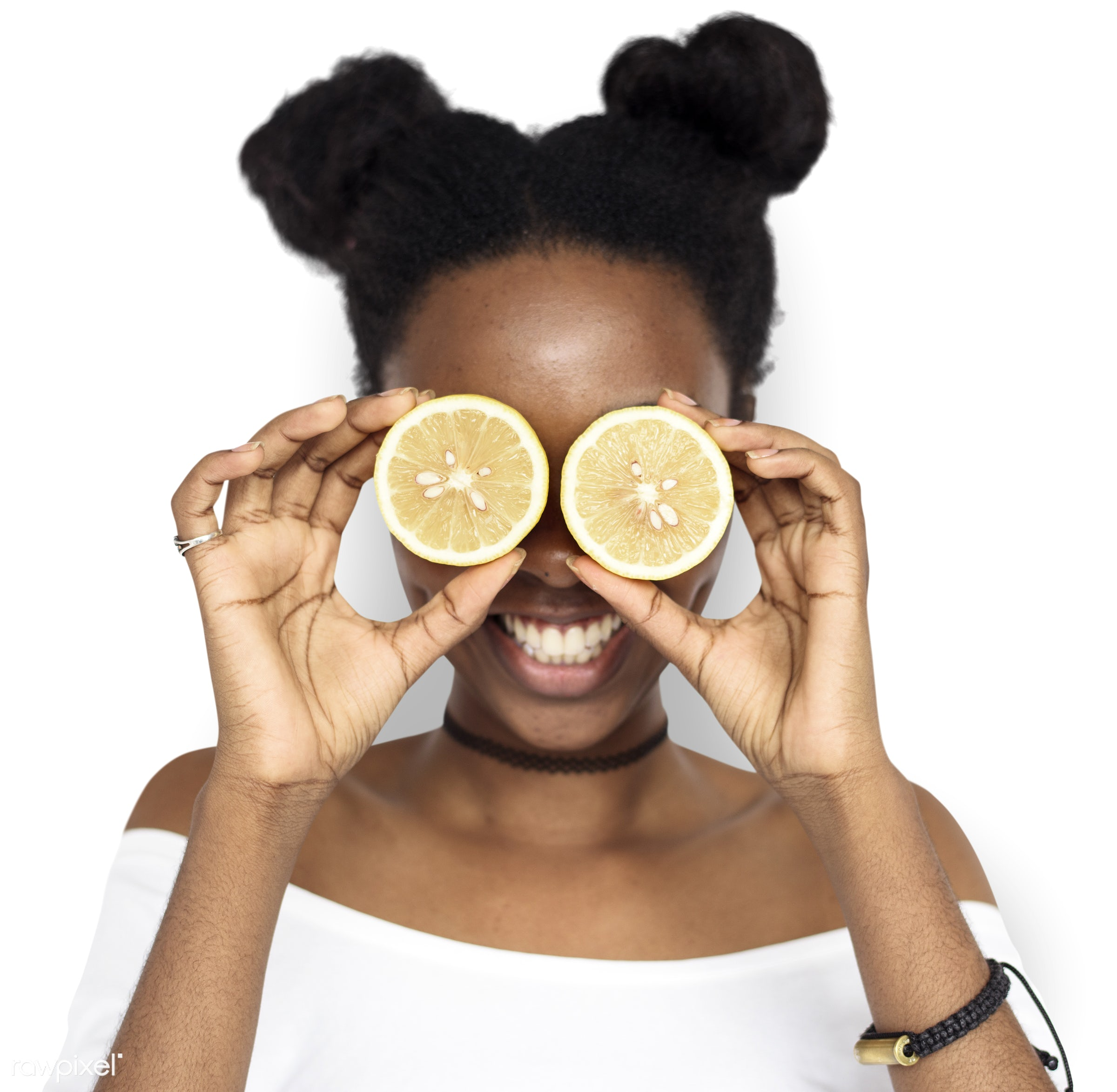 studio, expression, person, people, eyes, cover, woman, cheerful, smiling, black, isolated, fruit, african descent, white,...
