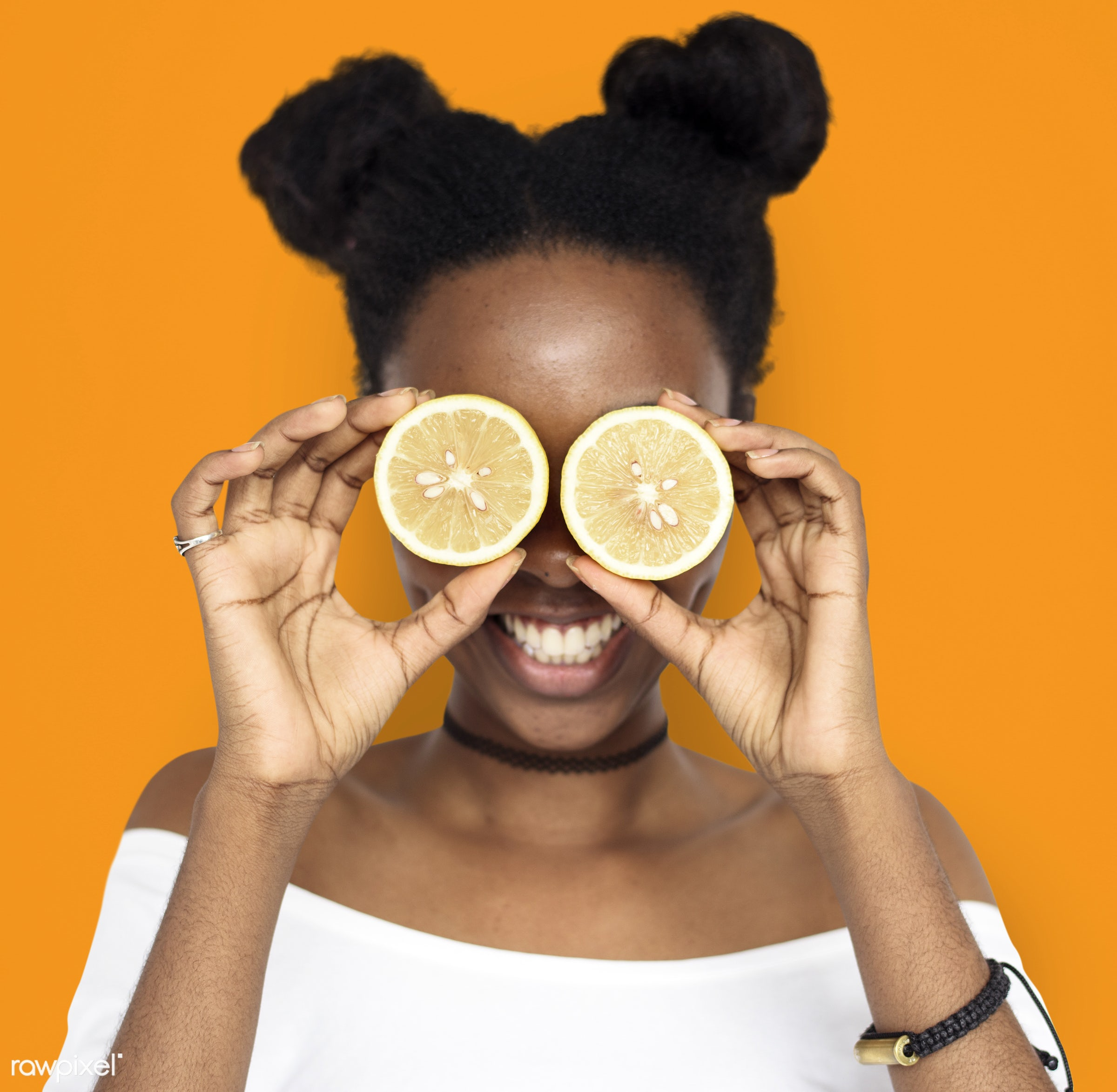 studio, expression, person, people, eyes, cover, woman, cheerful, smiling, black, isolated, orange, fruit, african descent,...