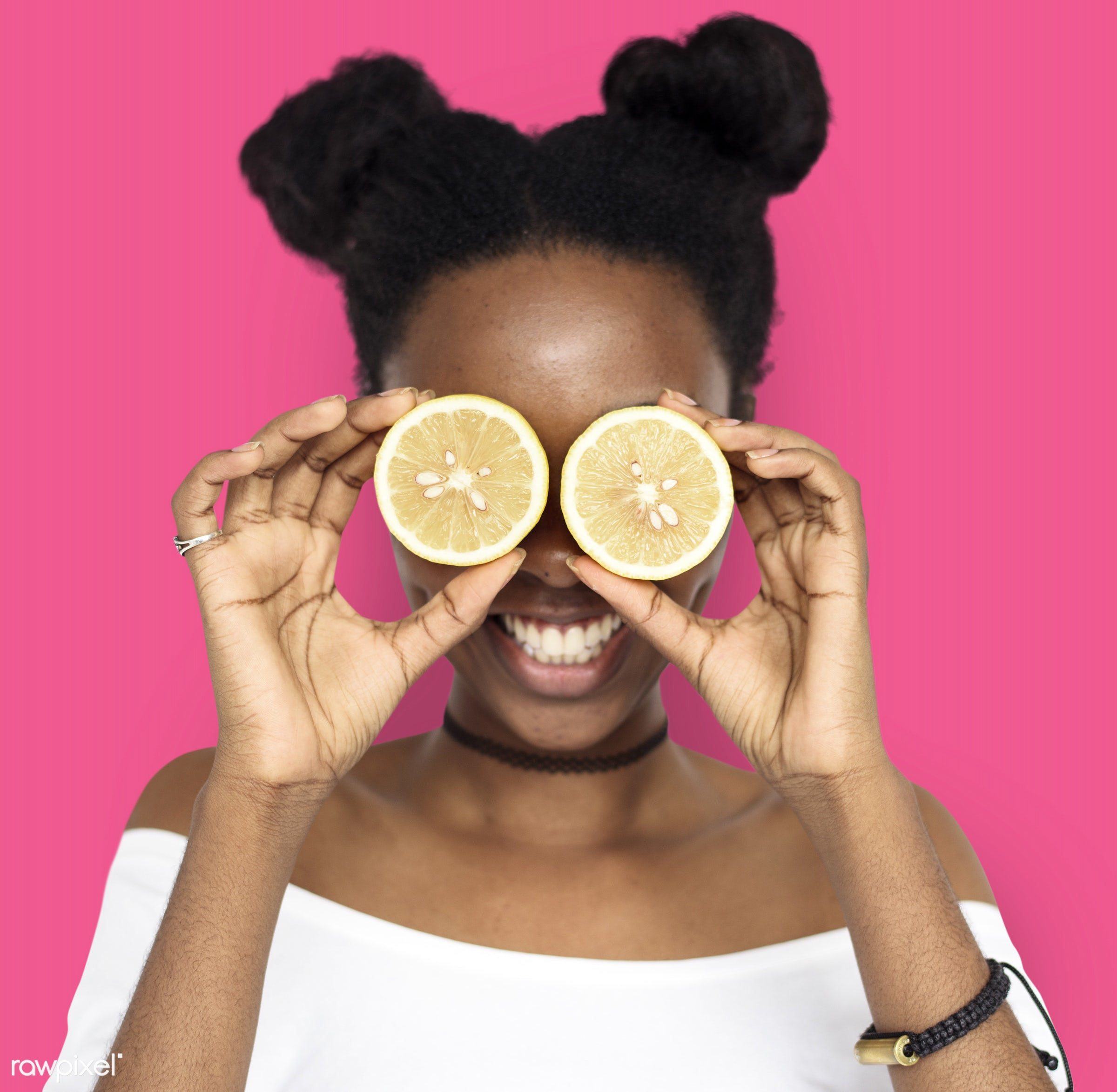 studio, expression, person, people, eyes, cover, woman, pink, cheerful, black, smiling, isolated, fruit, african descent,...