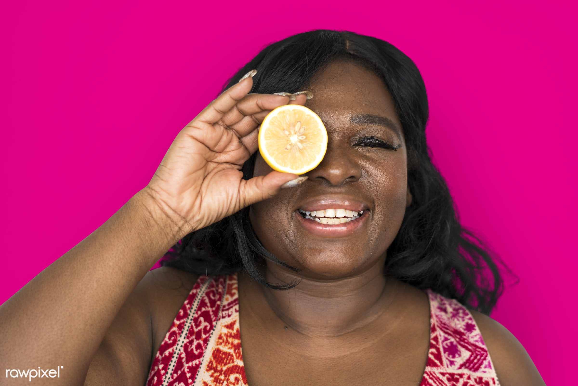 studio, expression, person, people, eyes, cover, woman, pink, cheerful, smiling, black, isolated, fruit, african descent,...