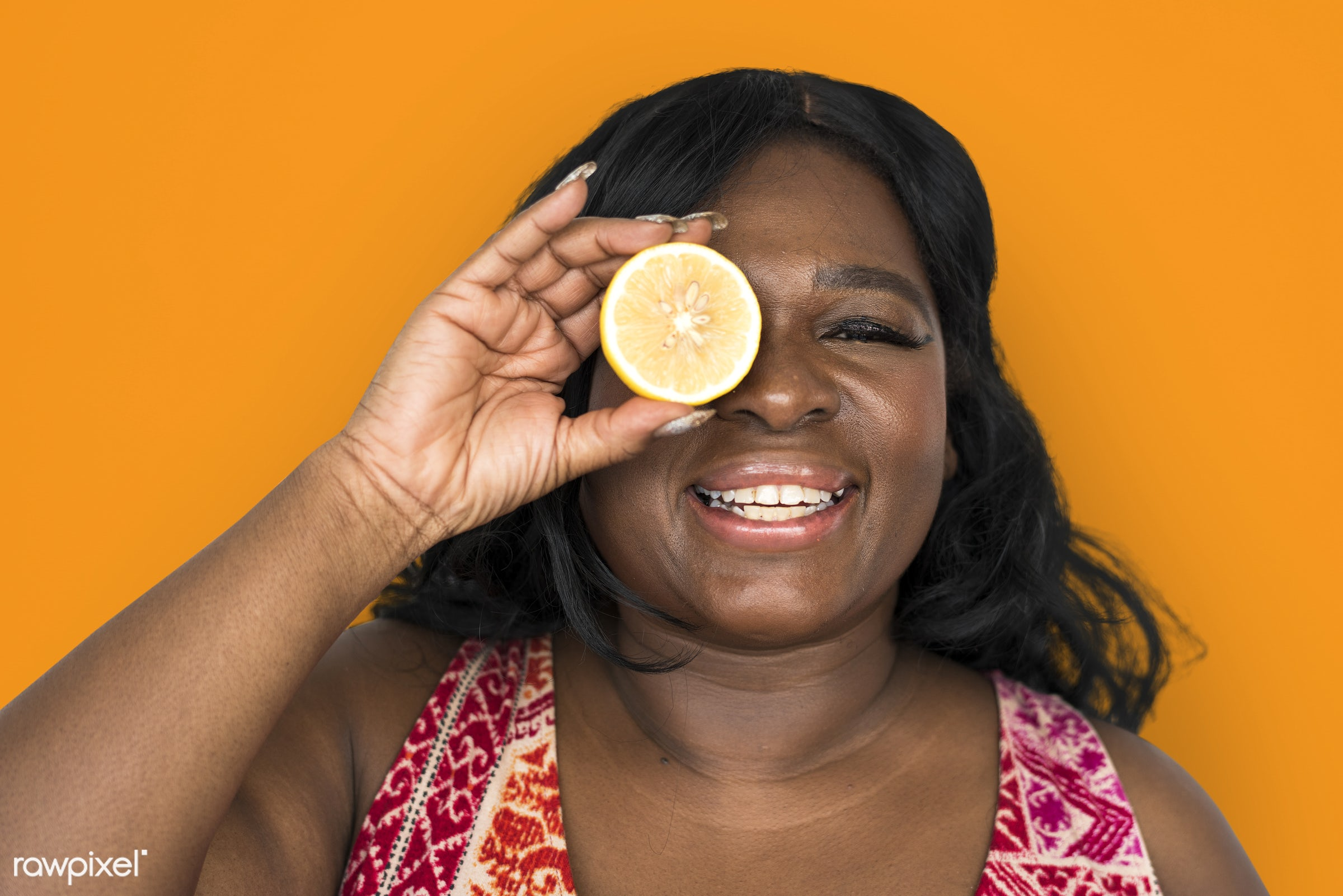 studio, expression, person, people, eyes, cover, woman, cheerful, smiling, black, orange, isolated, fruit, african descent,...