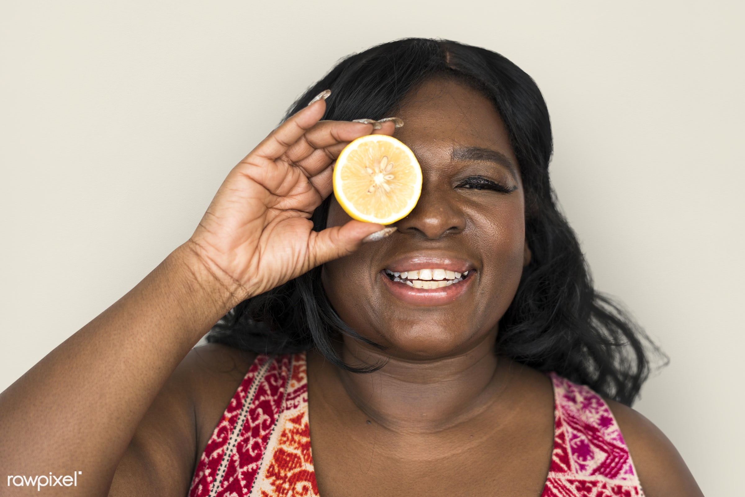 studio, expression, person, people, eyes, cover, woman, cheerful, smiling, black, isolated, fruit, african descent, human...
