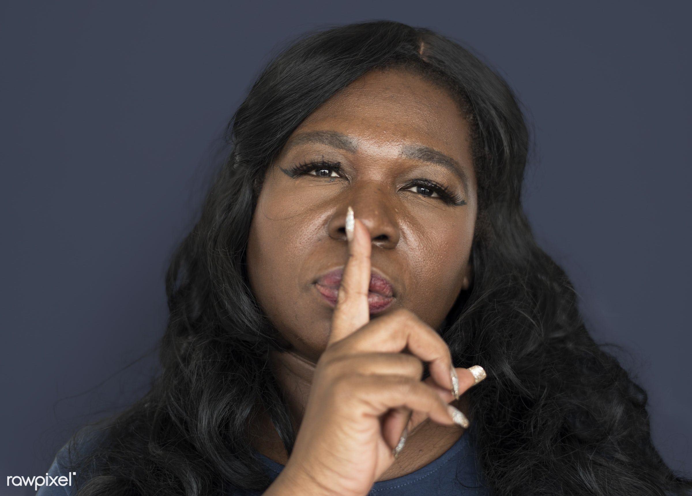 studio, expression, person, model, chubby, race, people, hand, gossip, style, woman, lifestyle, casual, isolated, african...