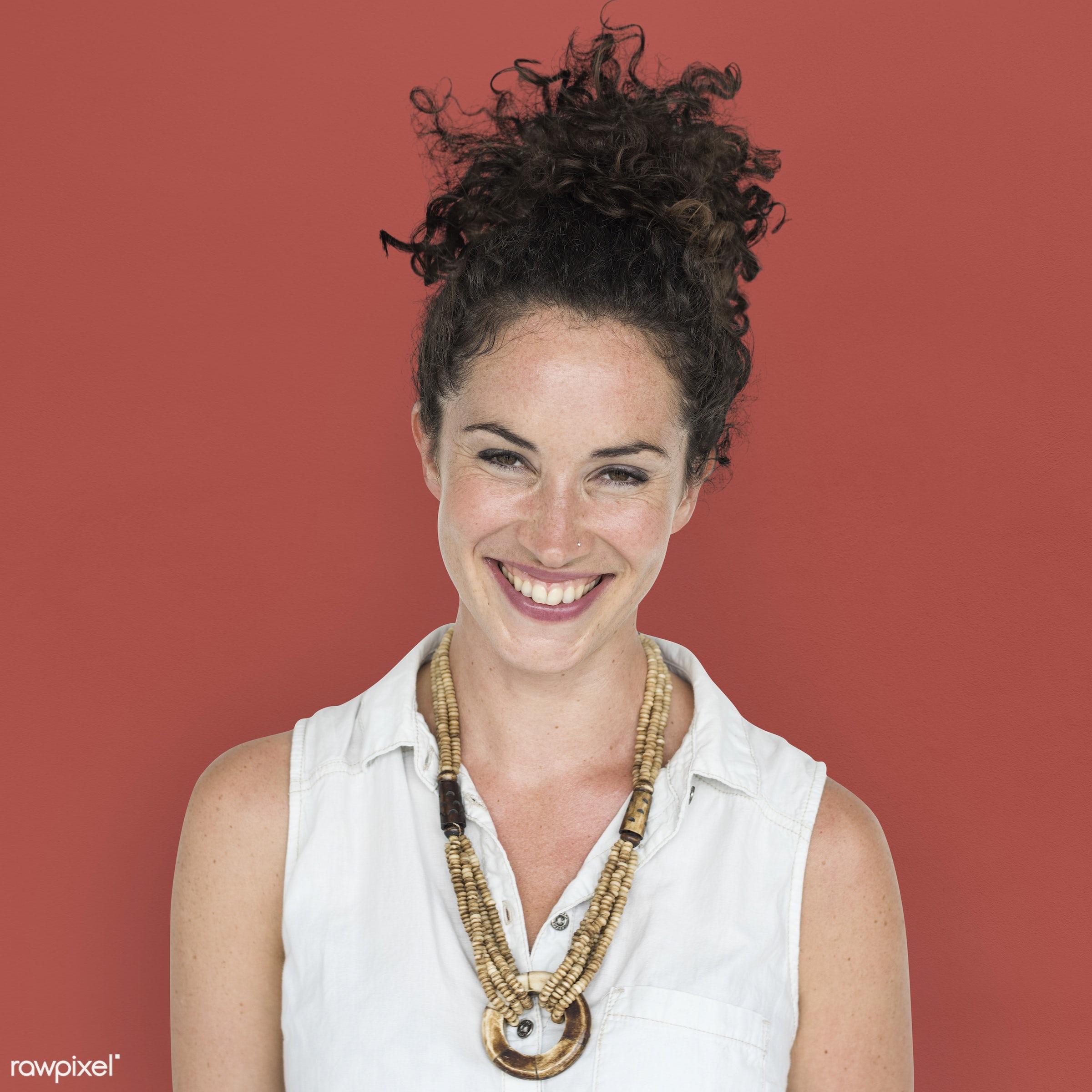 expression, studio, person, people, caucasian, girl, solo, woman, happy, attractive, casual, smile, positive, smiling,...