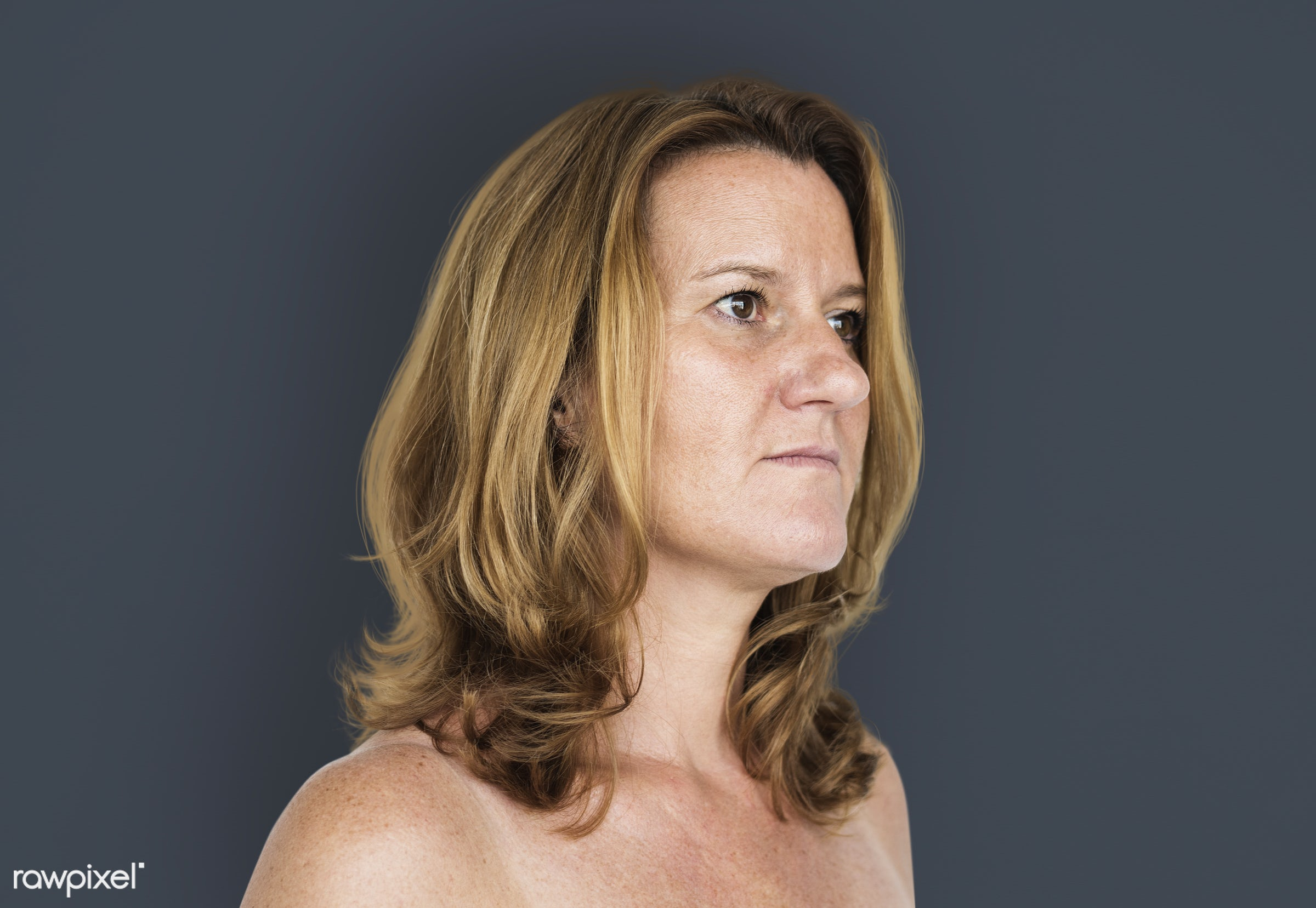 expression, studio, person, sad, people, caucasian, girl, solo, woman, bare chested, unhappy, isolated, mood, white, candid...