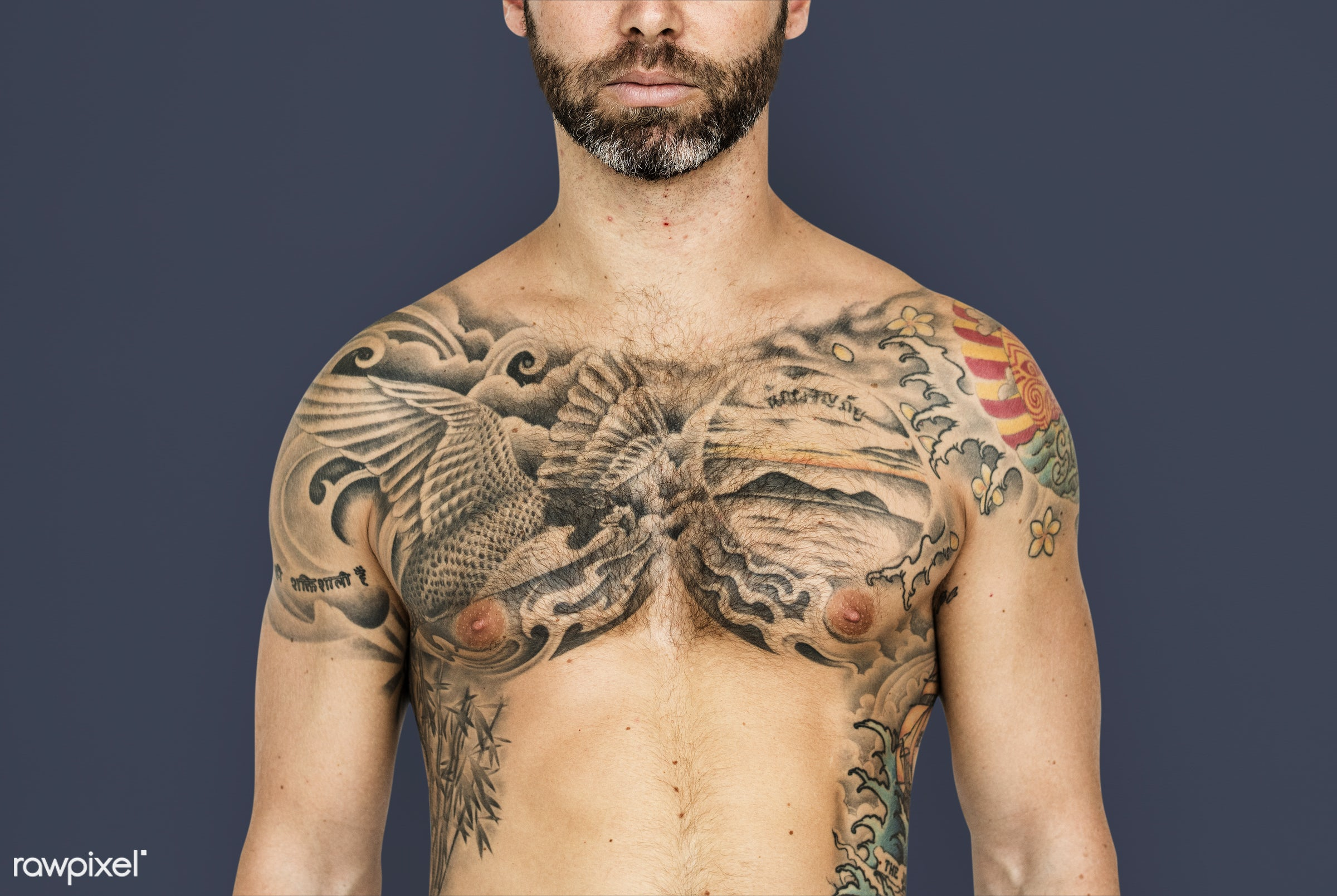 expression, studio, person, chest, people, caucasian, bare chest, fit, style, solo, tattoo, man, isolated, male, mood, white...