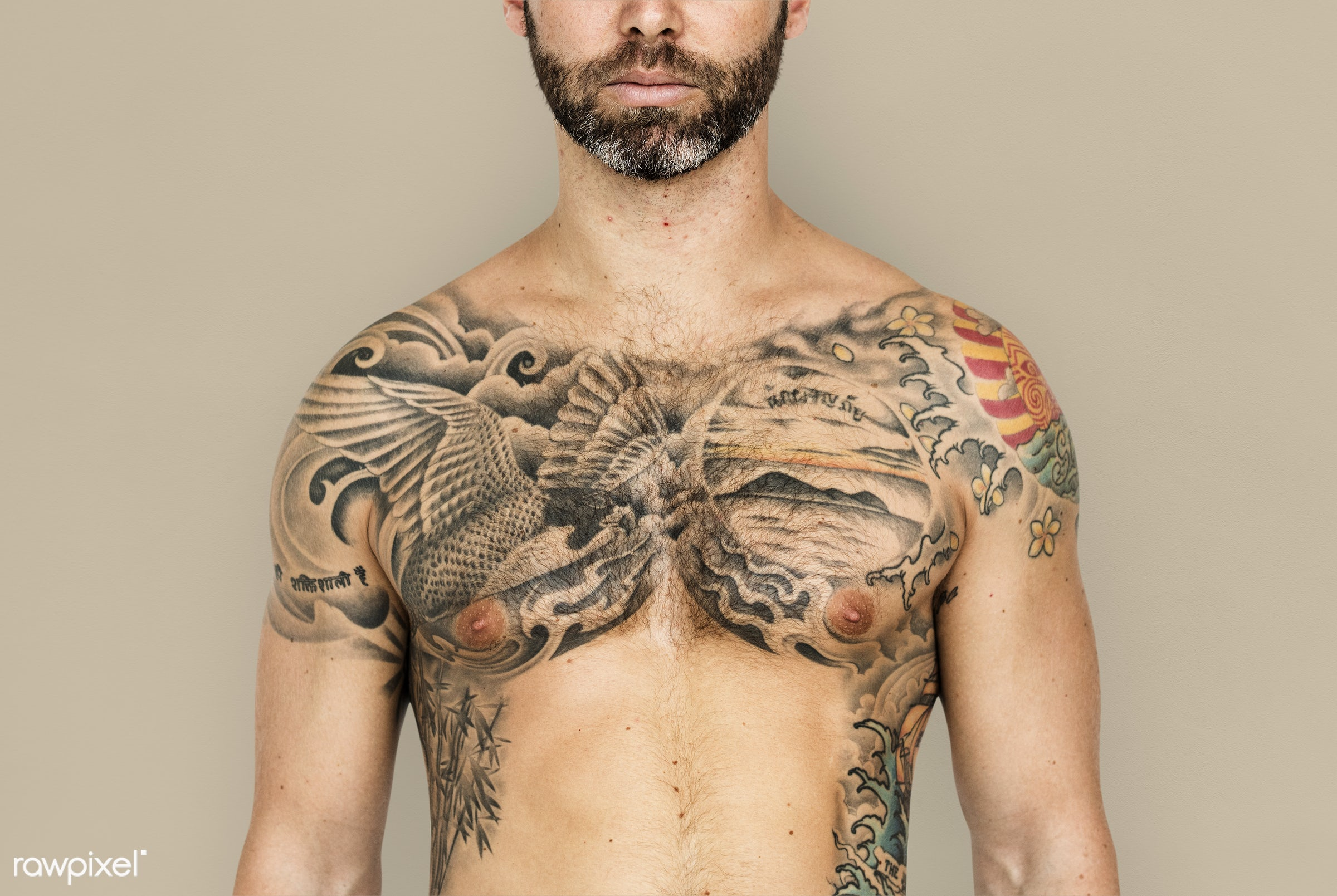 adult, background, bare chest, beard, chest, design, emotion, expression, facial, facial hair, fit, isolated, male, man,...