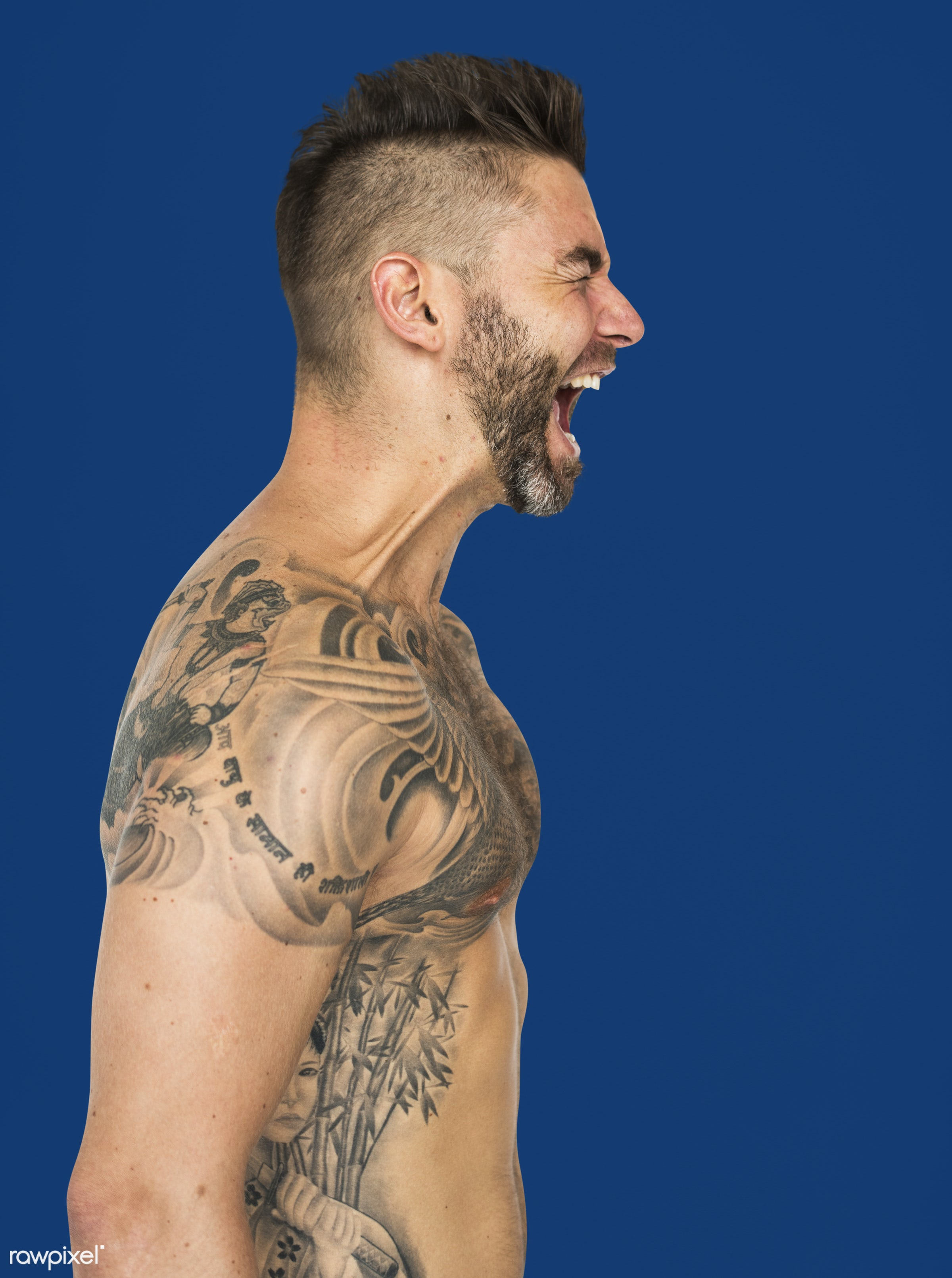 agitated, expression, studio, person, angry, people, caucasian, bare chest, solo, tattoo, isolated, white, mood, portrait,...