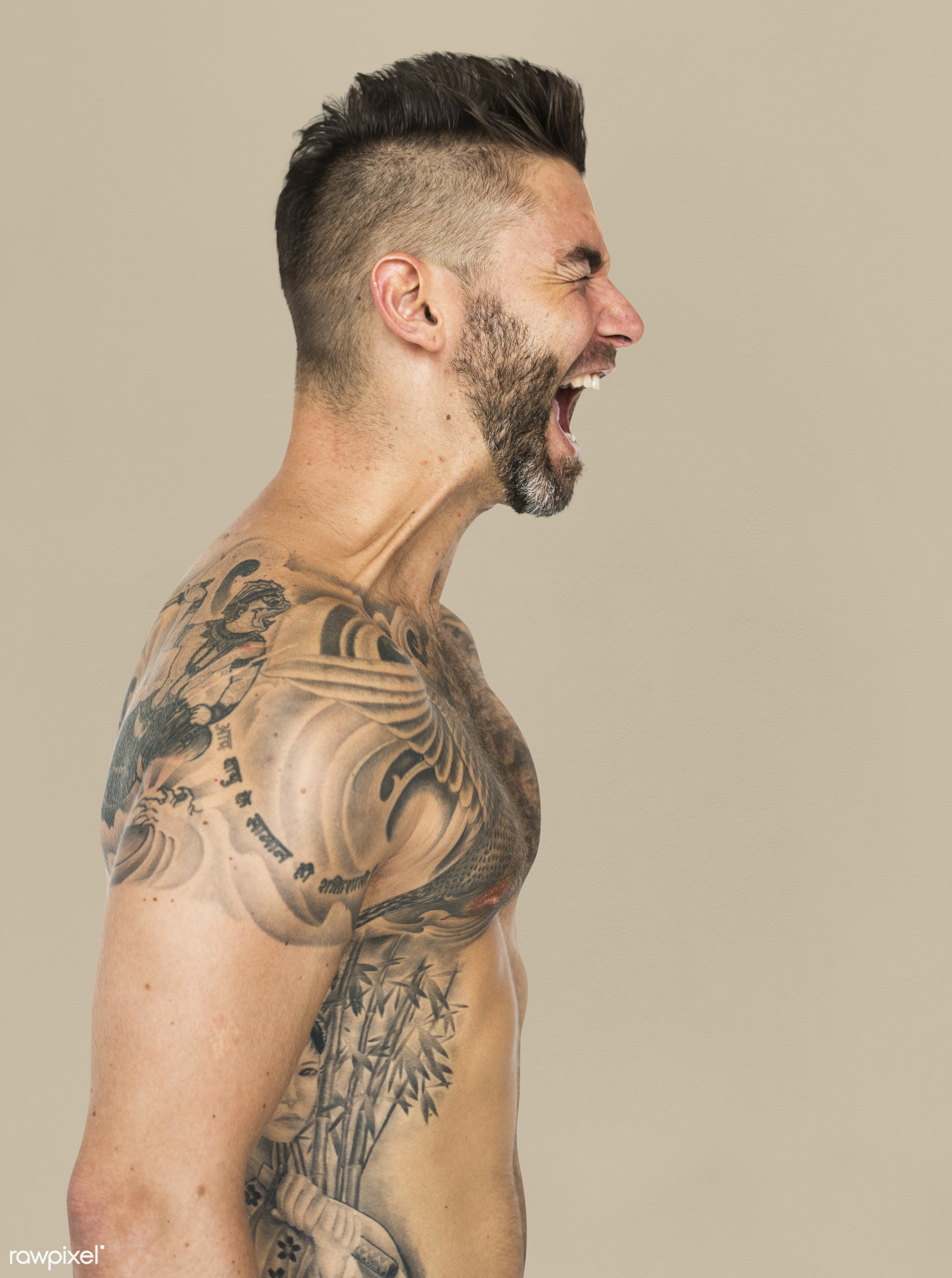 adult, aggressive, agitated, angry, background, bare chest, beard, caucasian, chest, design, emotion, expression, facial,...