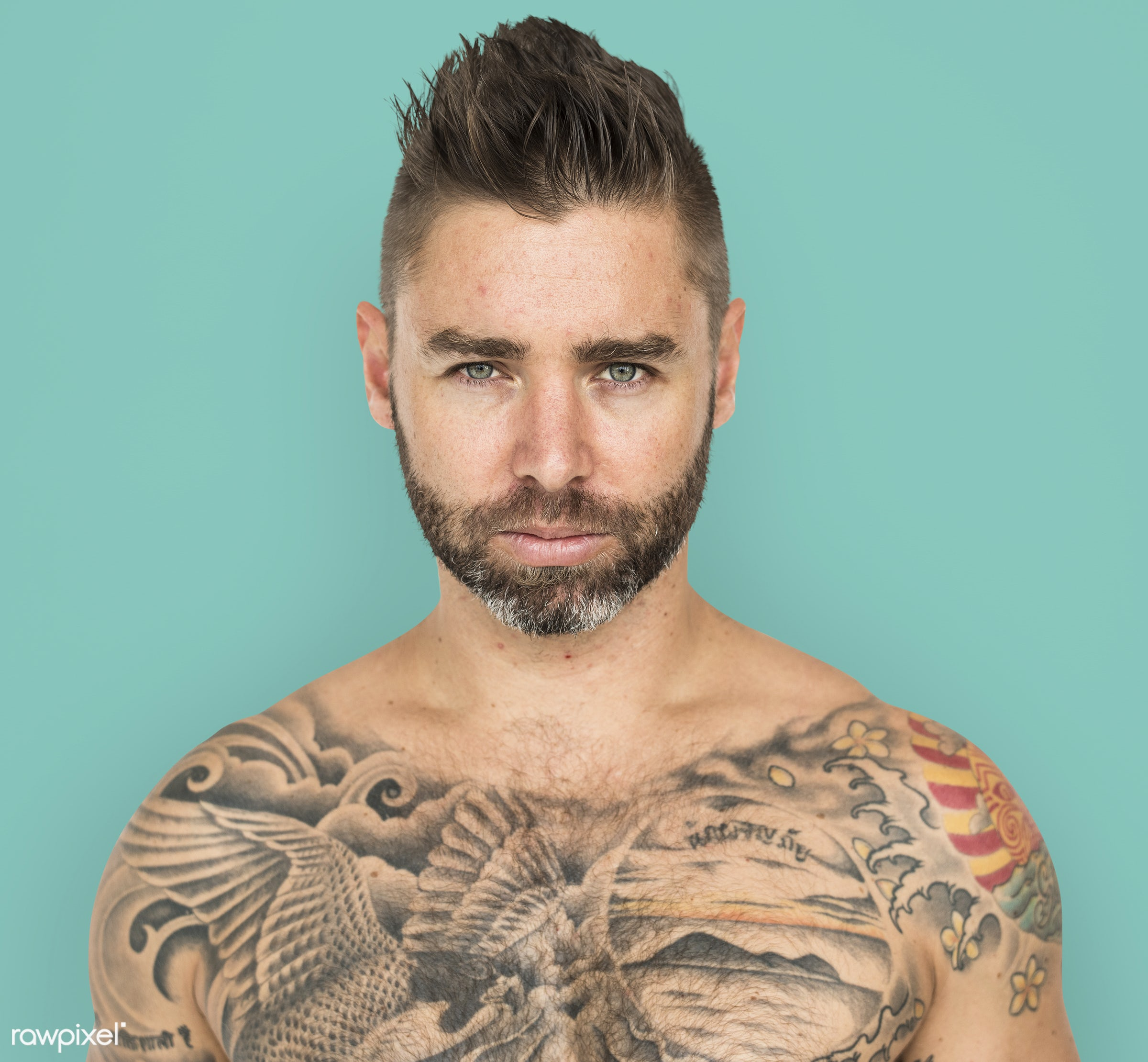 adult, background, bare chest, beard, caucasian, chest, design, emotion, expression, facial, fit, isolated, male, man, mood...