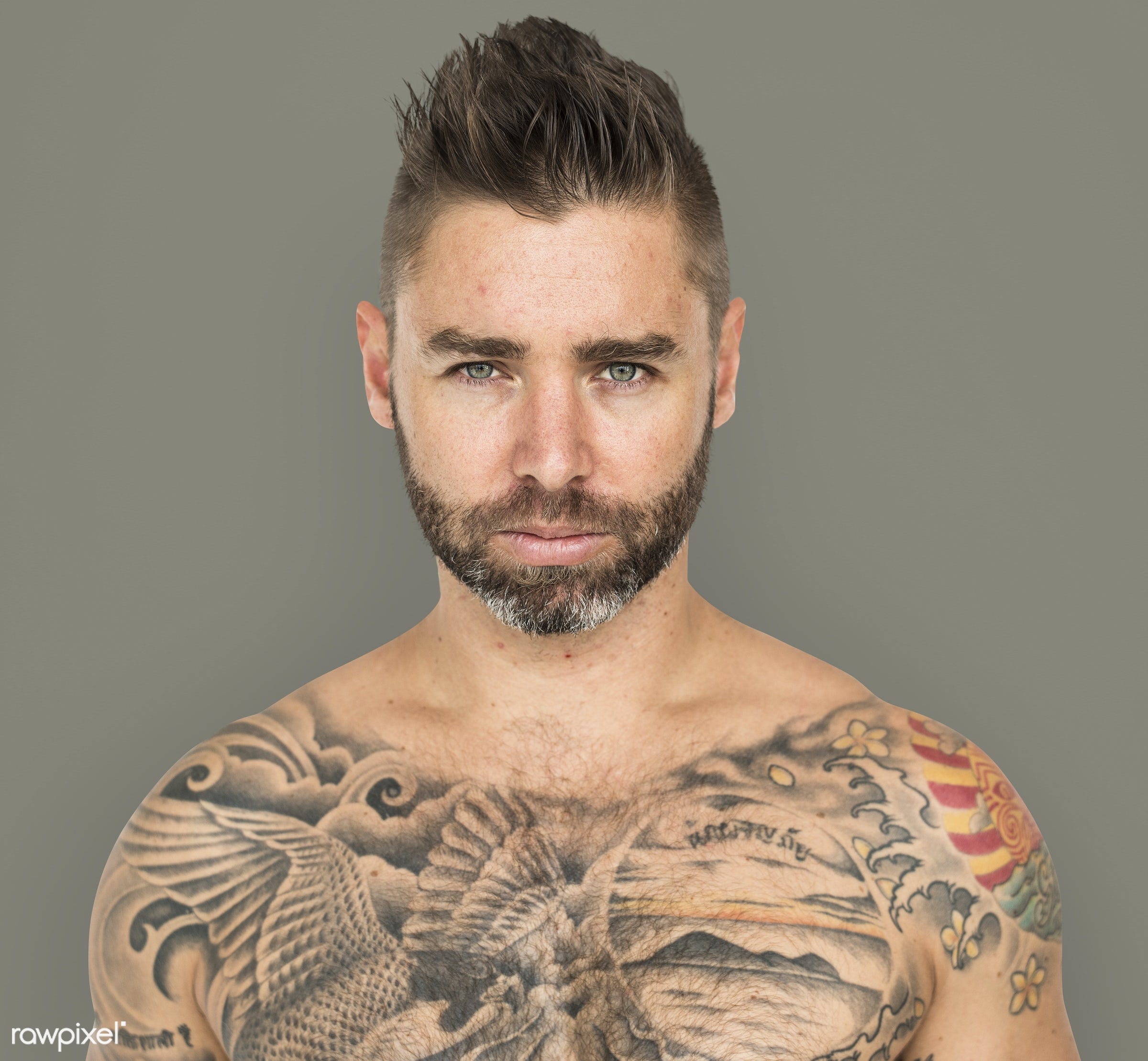 studio, expression, person, poker face, chest, people, caucasian, bare chest, fit, style, solo, tattoo, man, isolated, male...