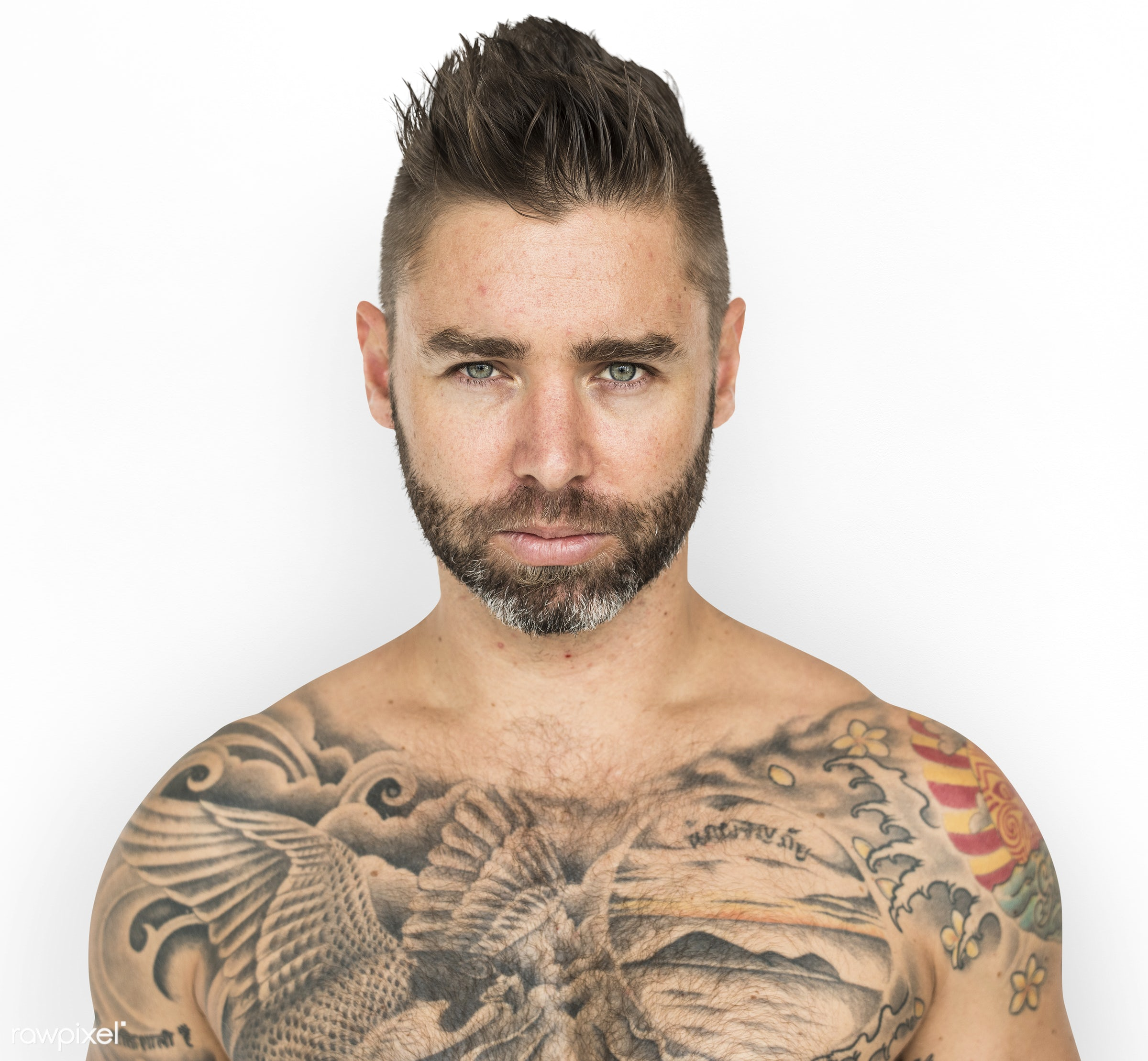expression, studio, person, poker face, isolated on white, chest, people, caucasian, bare chest, fit, style, solo, tattoo,...