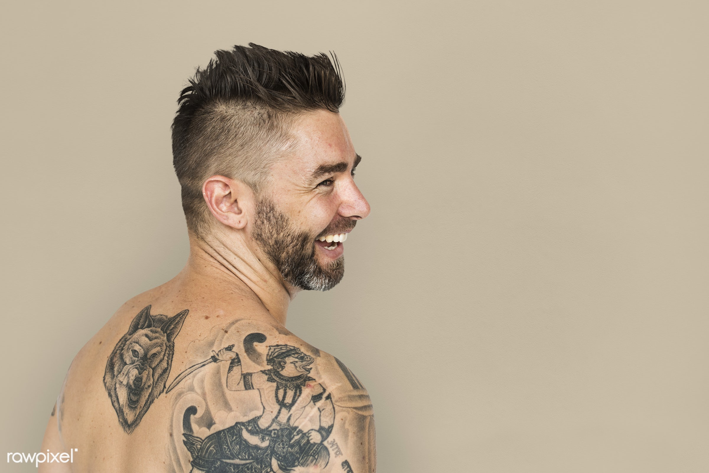 expression, studio, person, people, caucasian, bare chest, style, solo, happy, back shot, back view, smile, tattoo, positive...