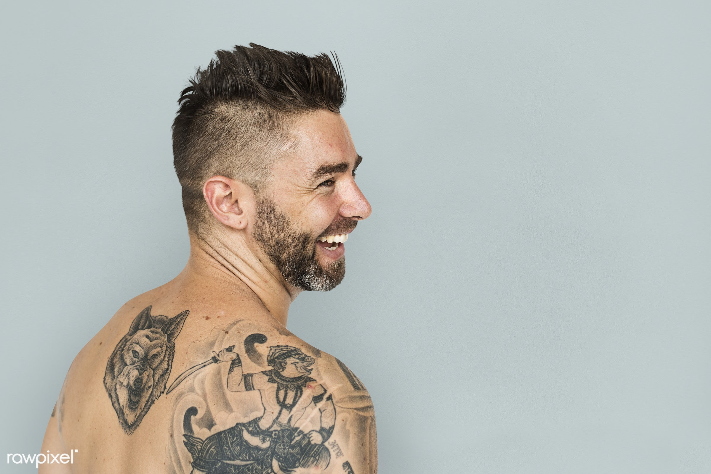 adult, back, back shot, back view, background, bare chest, beard, caucasian, cheerful, design, emotion, expression, facial,...