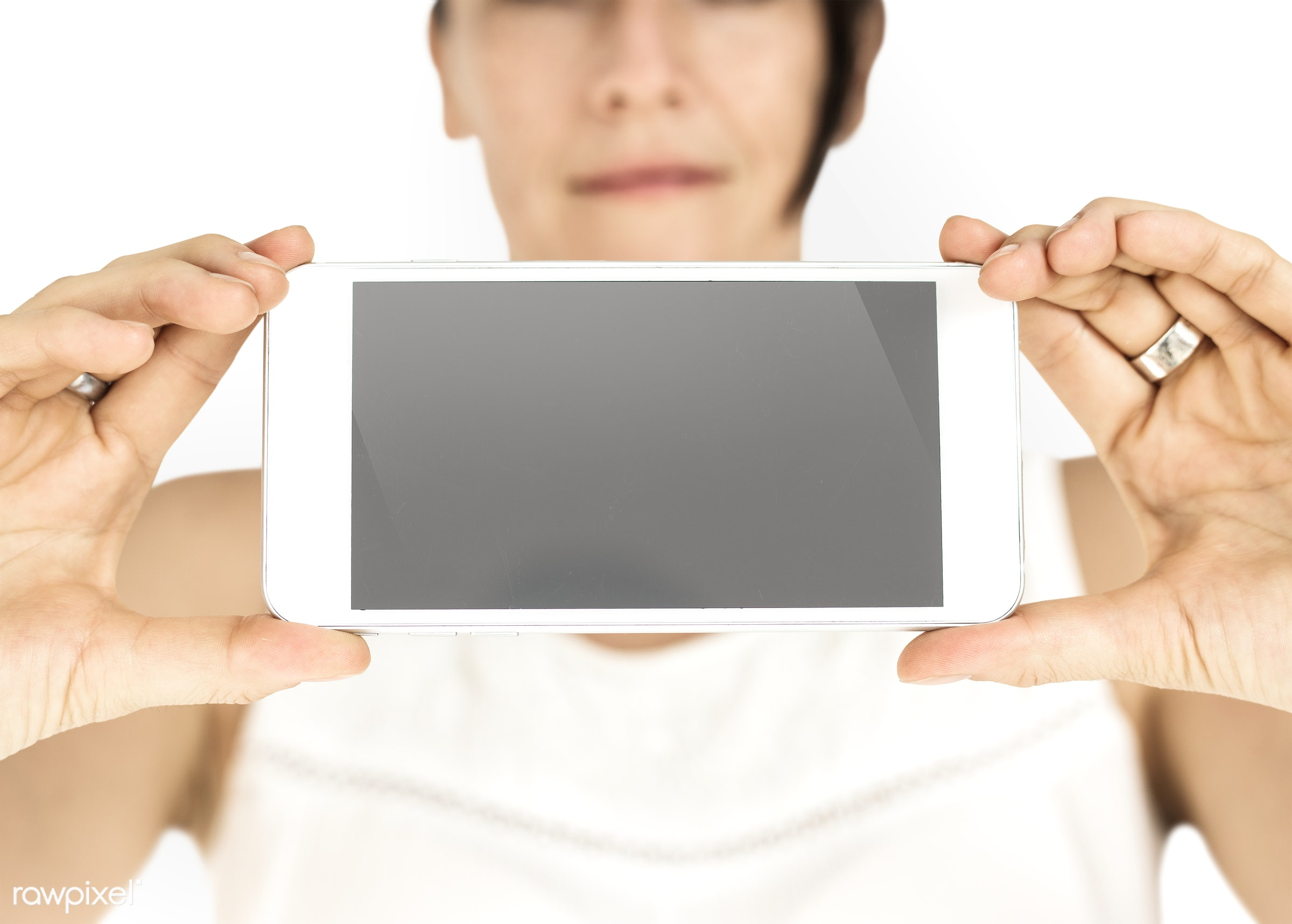 background, caucasian, communication, copy space, device, emotion, expression, female, girl, holding, holding phone,...