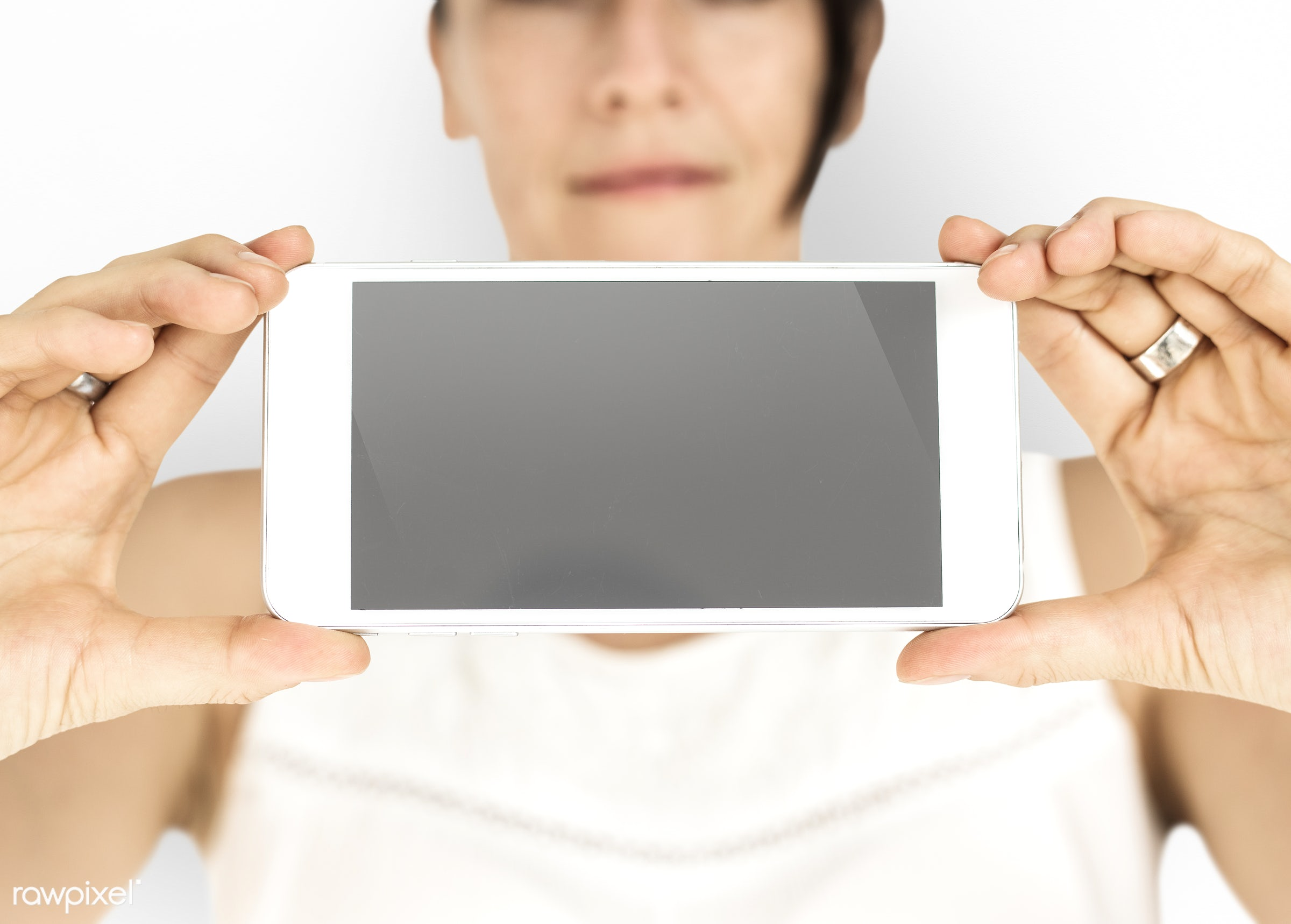 studio, expression, phone, person, technology, portable, holding, isolated on white, object, landscape, people, network,...
