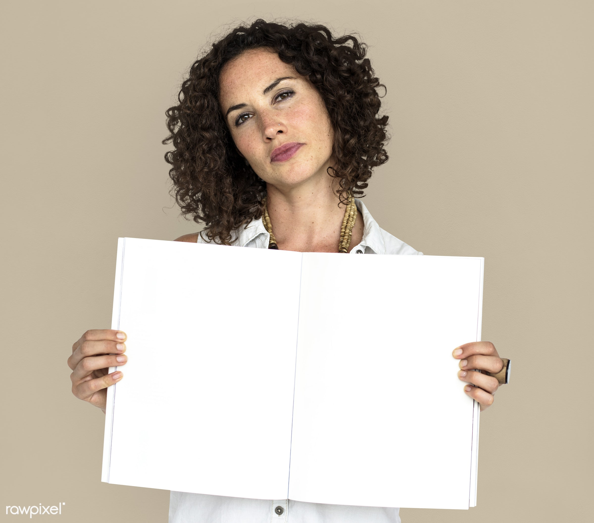 expression, studio, person, open notebook, object, people, positivity, caucasian, girl, solo, woman, showing, holding...