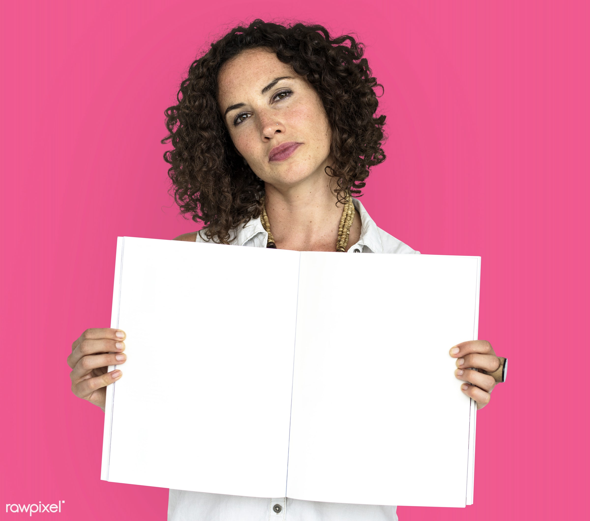 expression, studio, person, open notebook, object, people, positivity, caucasian, girl, solo, woman, showing, pink, smile,...