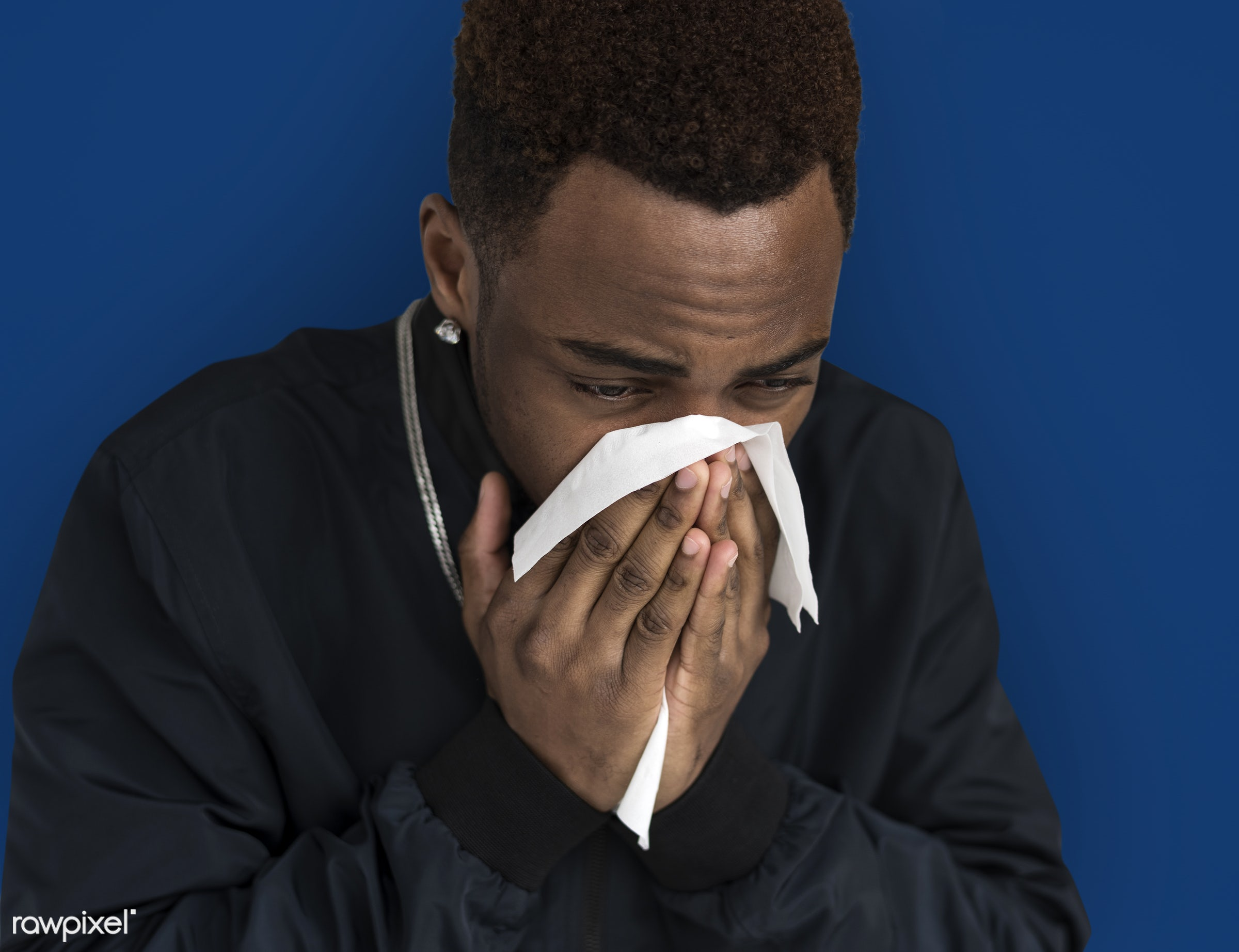 expression, studio, negative mood, person, sneezing, sad, tissue paper, people, cold, illness, man, black, unhappy, isolated...