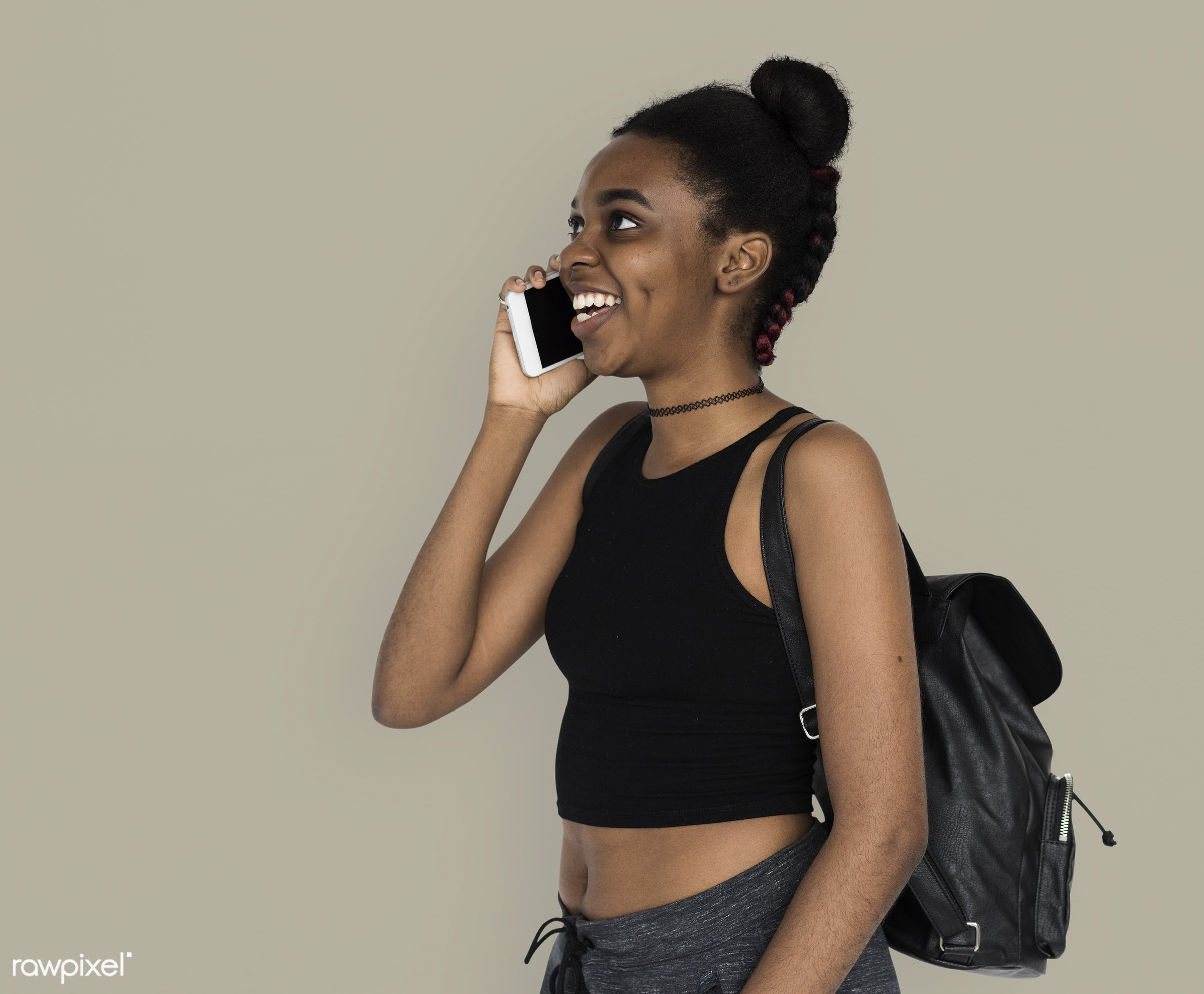 studio, call, person, calling, people, teenage, girl, young adult, side, hands, happy, woman, teenager, cell phone, smile,...