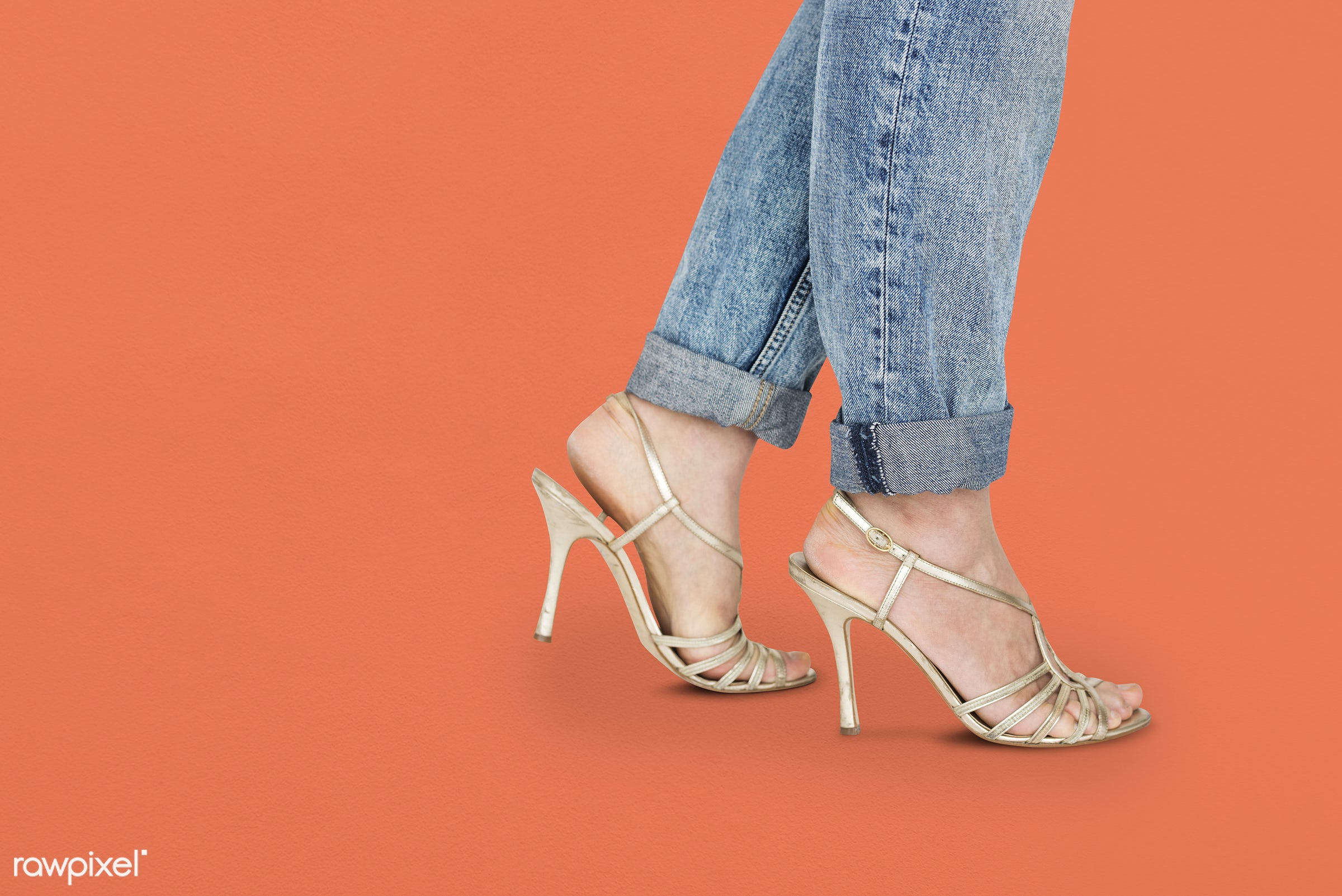 studio, fashion, model, person, people, race, style, solo, woman, lifestyle, casual, feminism, shoes, isolated, orange,...