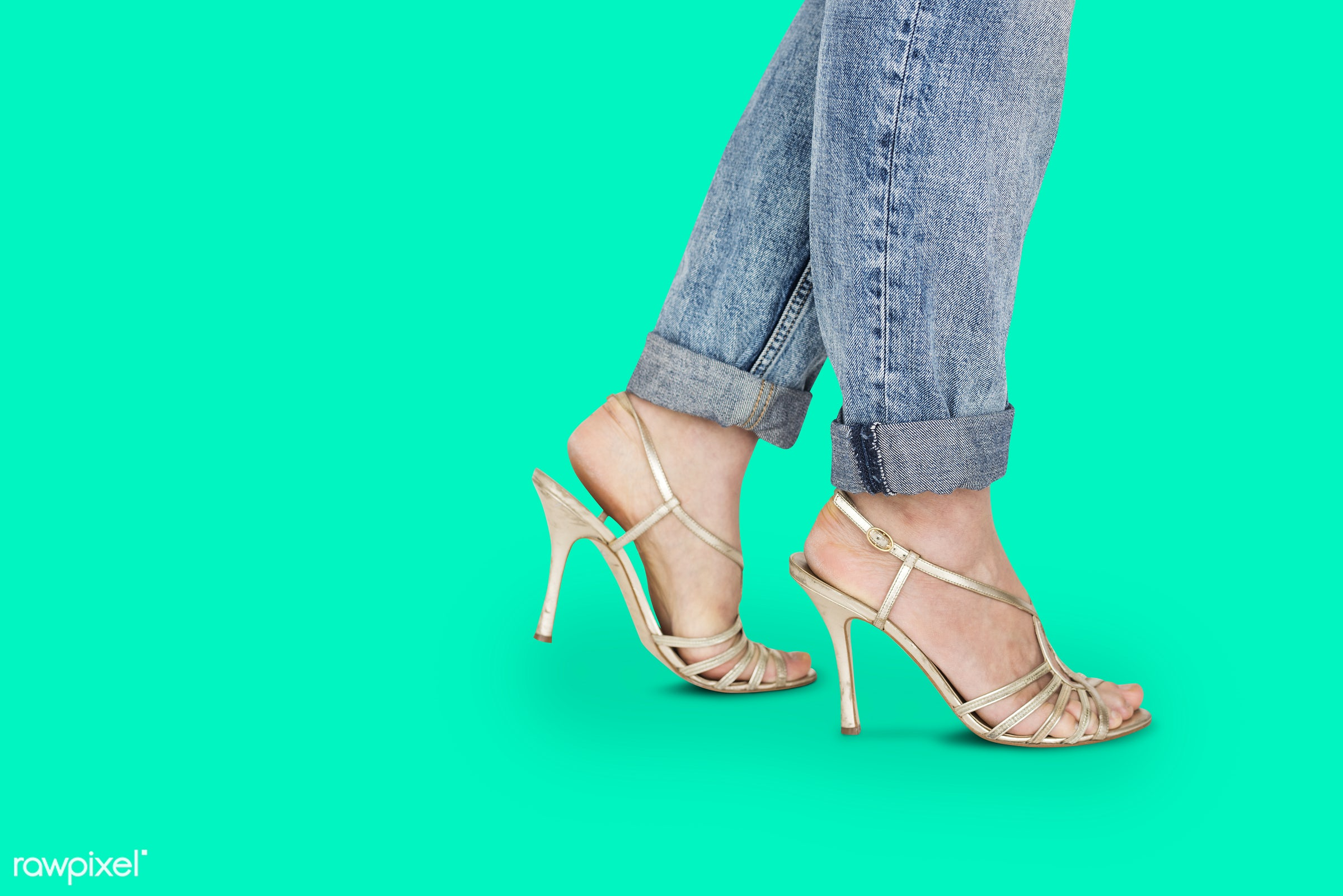 studio, fashion, model, person, people, race, style, solo, woman, lifestyle, casual, feminism, shoes, isolated, green, jeans...