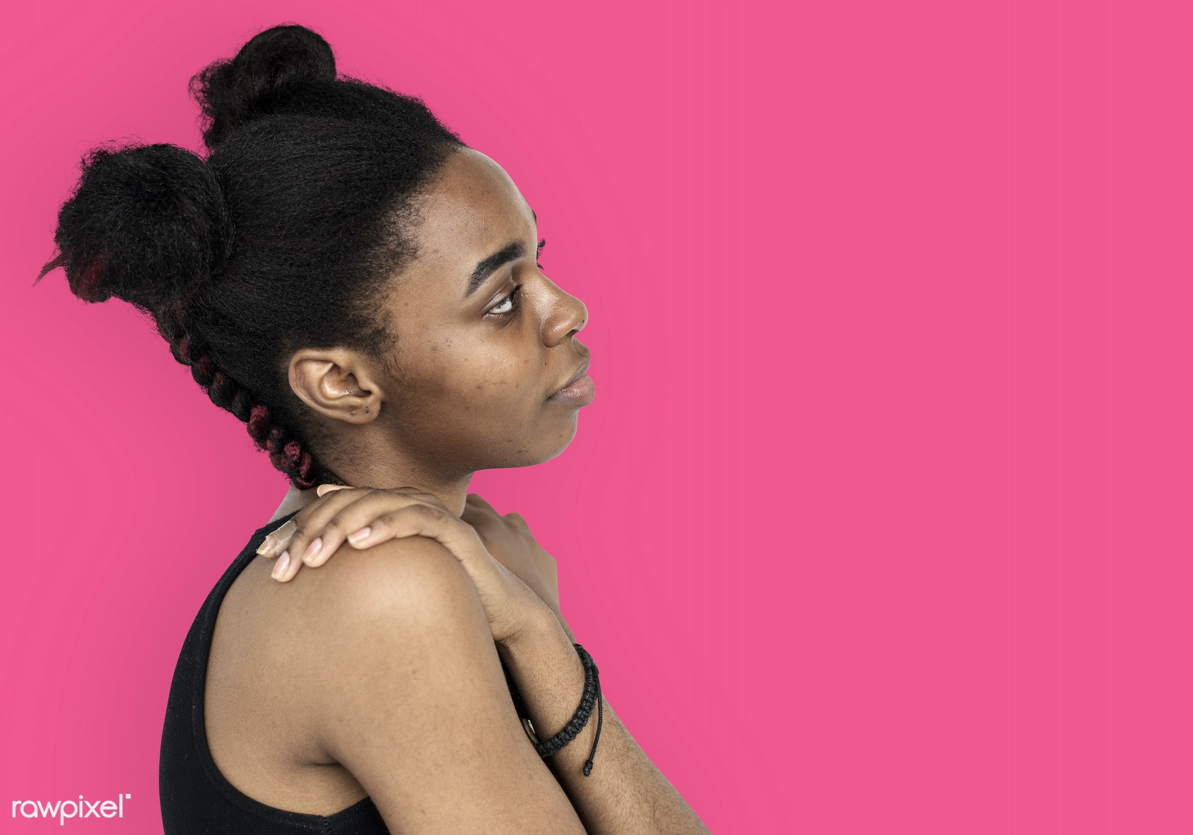 studio, model, person, people, race, style, solo, woman, lifestyle, casual, pink, feminism, isolated, african descent,...
