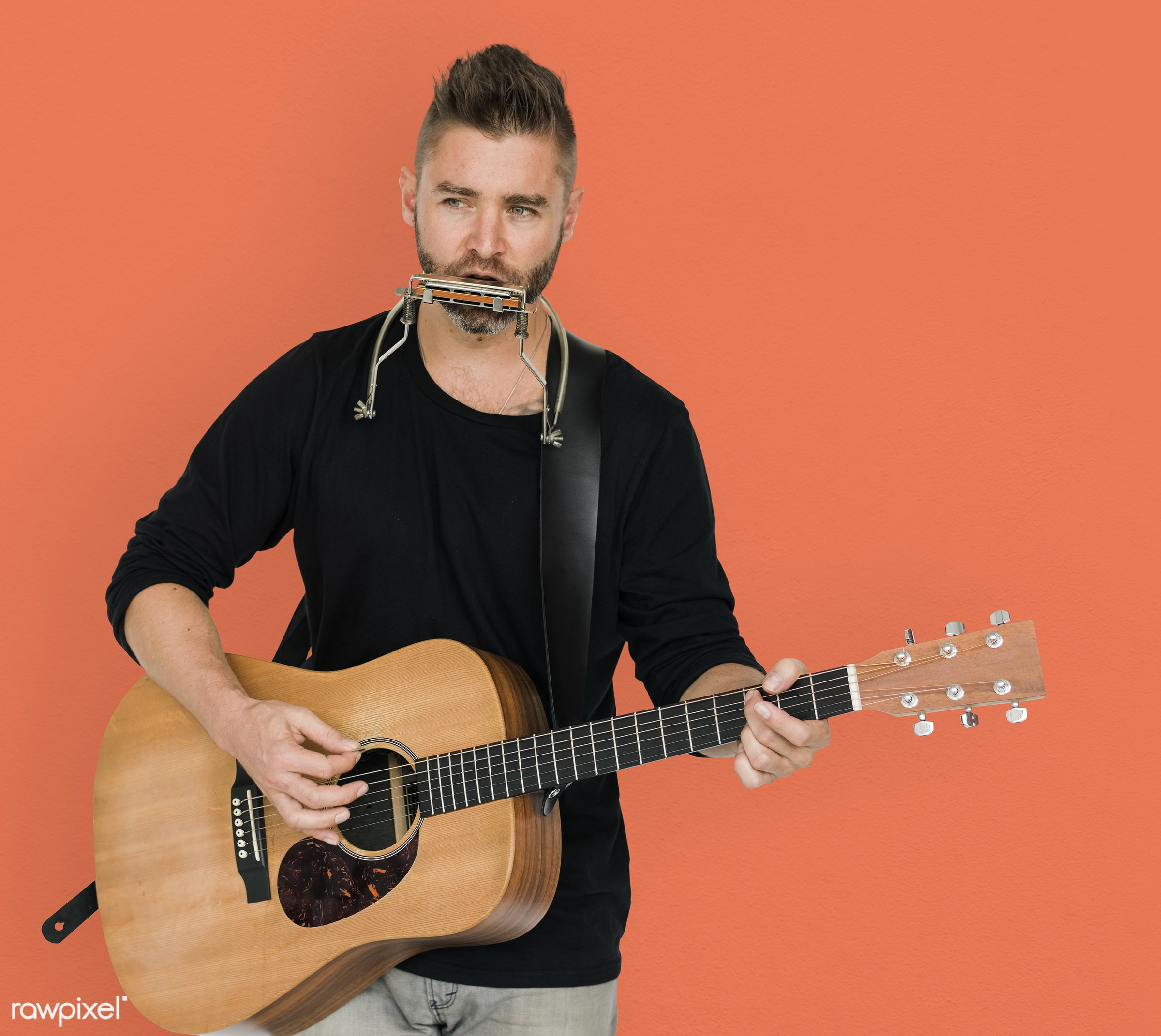 studio, expression, person, single, playing guitar, people, caucasian, curious, solo, lifestyle, musician, spiky, alone,...