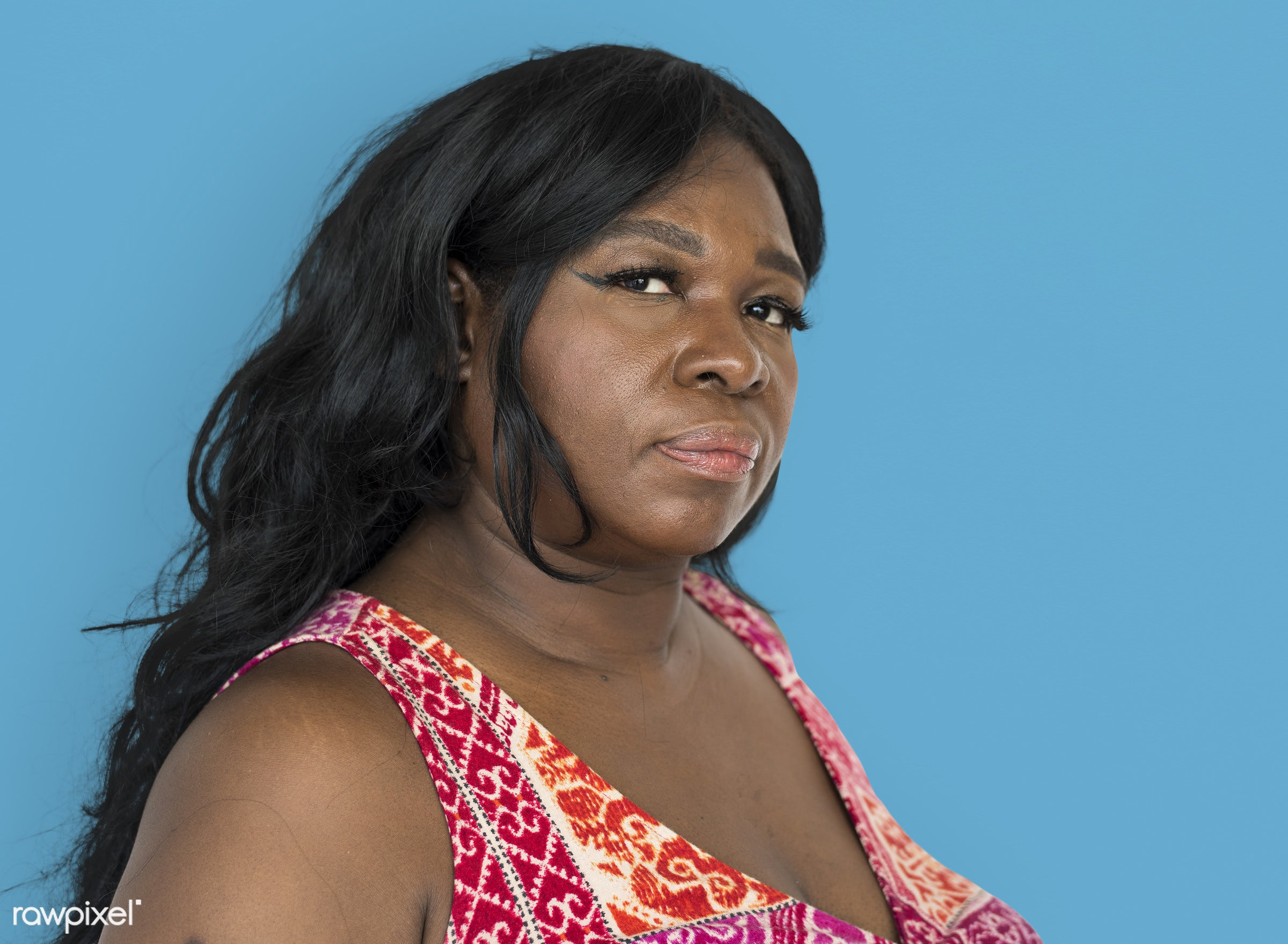 african, serious, mad, isolated, studio, studio shoot, black, woman, casual, frowning