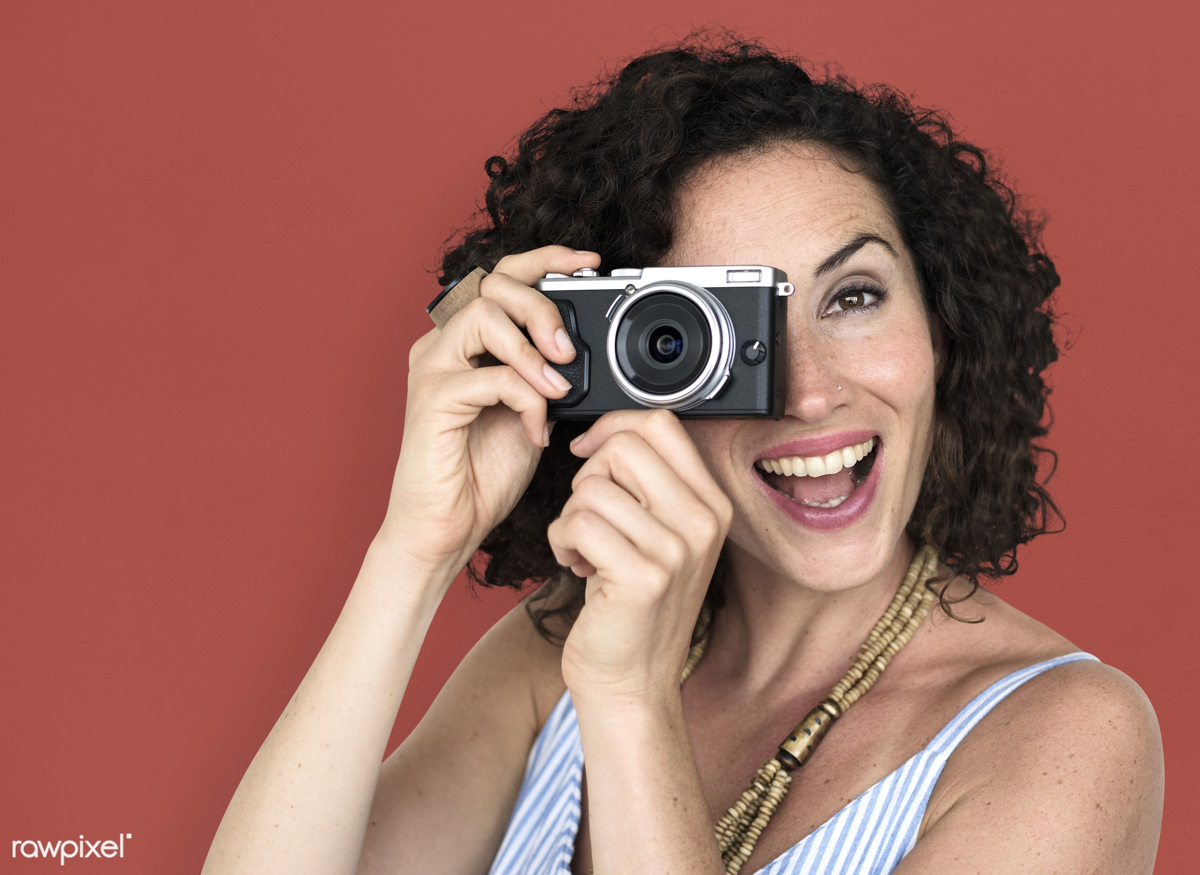 studio, necklet, person, press, people, shot, photography, caucasian, hands, woman, photographer, smile, isolated, camera,...