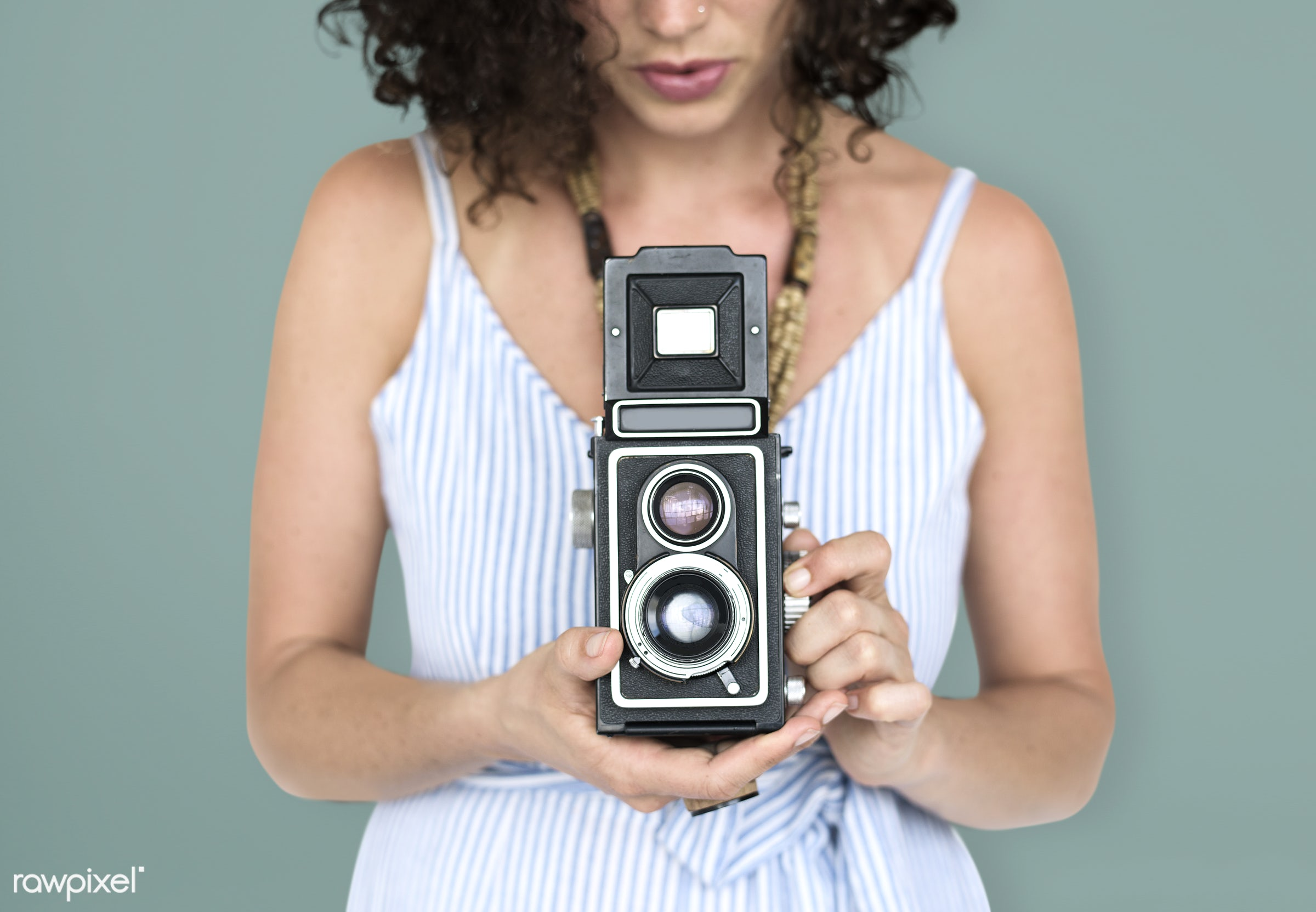 studio, necklet, press, person, retro, shot, people, photography, caucasian, hands, woman, photographer, isolated, vintage,...