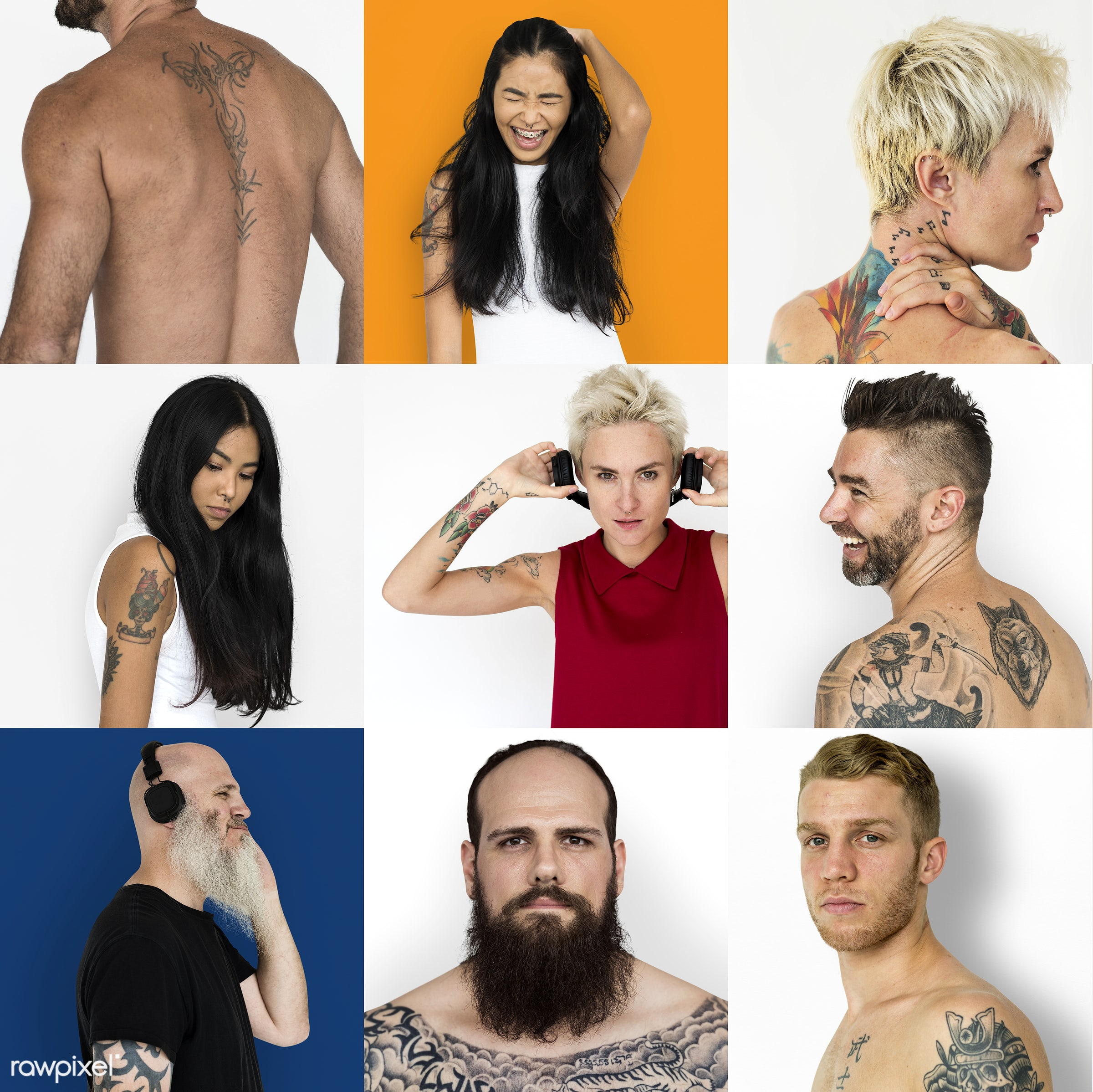 Set of portraits of people with tattoos - studio, calm, person, set, motivation, show, people, positivity, asian, caucasian...