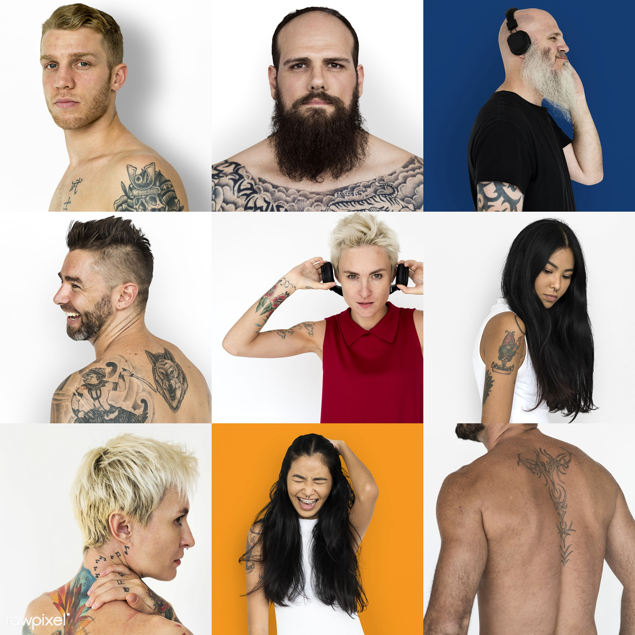 studio, body, fashion, set, variation, collection, people, skin, face expression, woman, lifestyle, collage, men, tattoo,...