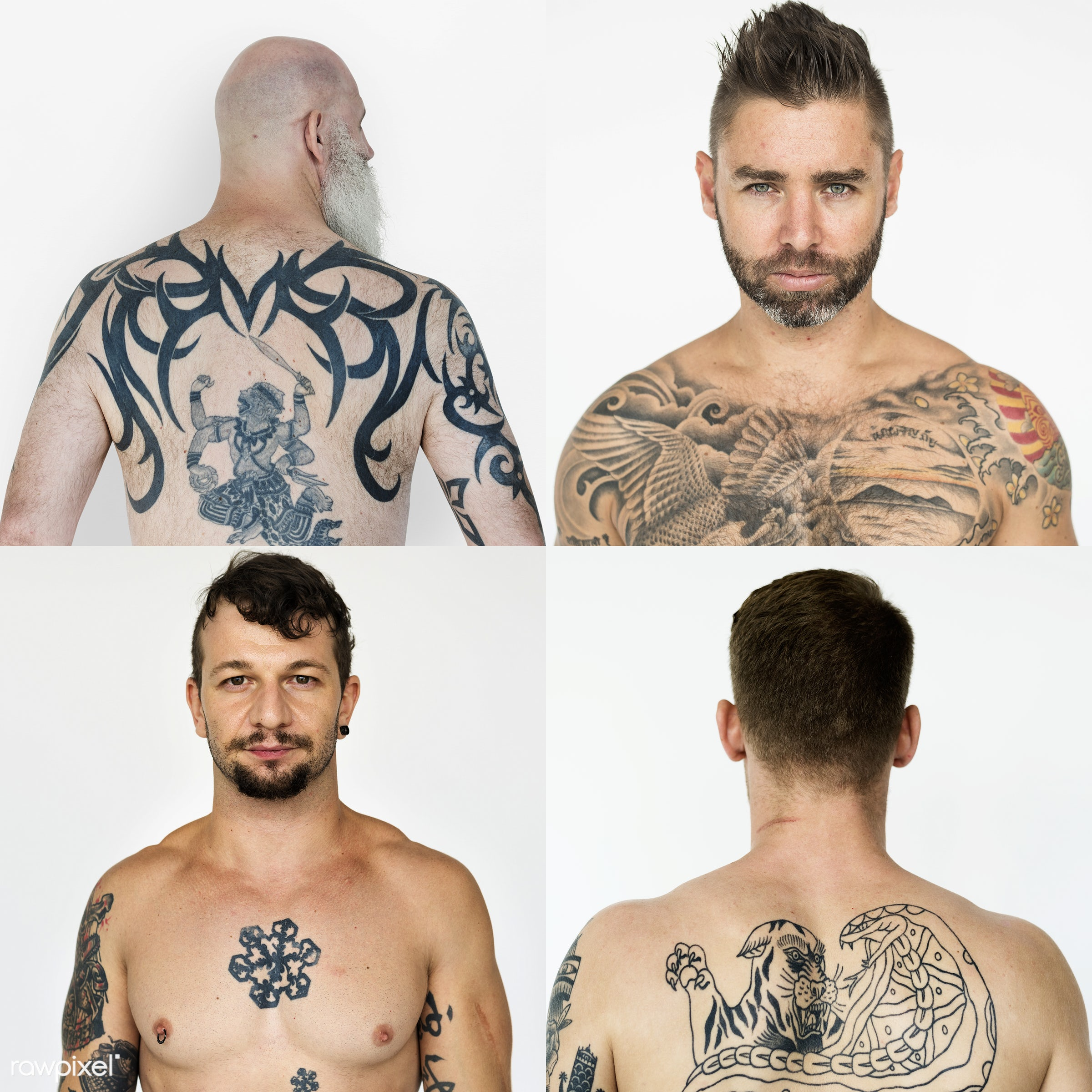 Set of portraits of people with tattoos - studio, calm, person, set, people, positivity, attitude, life, young adult, side,...