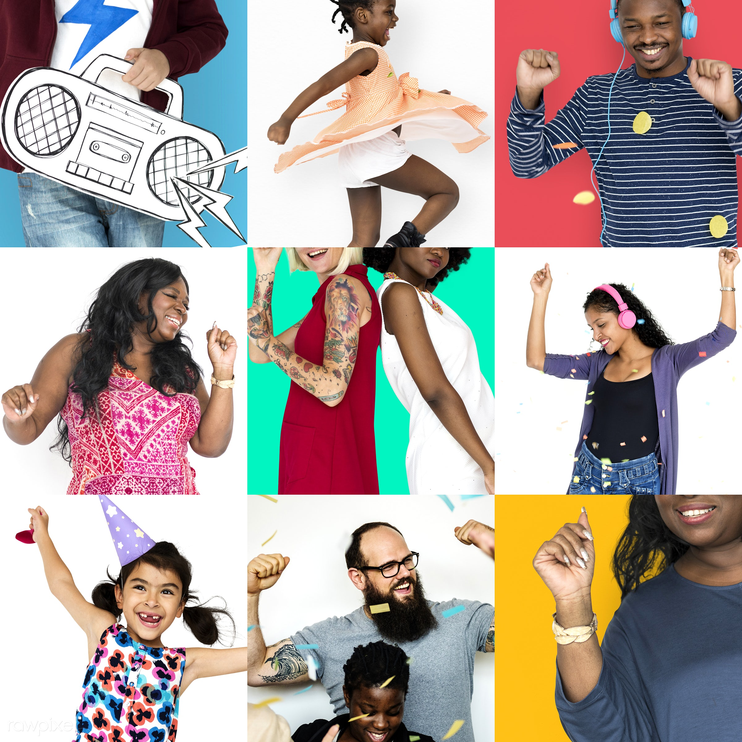 studio, dancing, person, relax, set, children, collection, people, positivity, kid, girl, woman, rhythm, collage, men, smile...