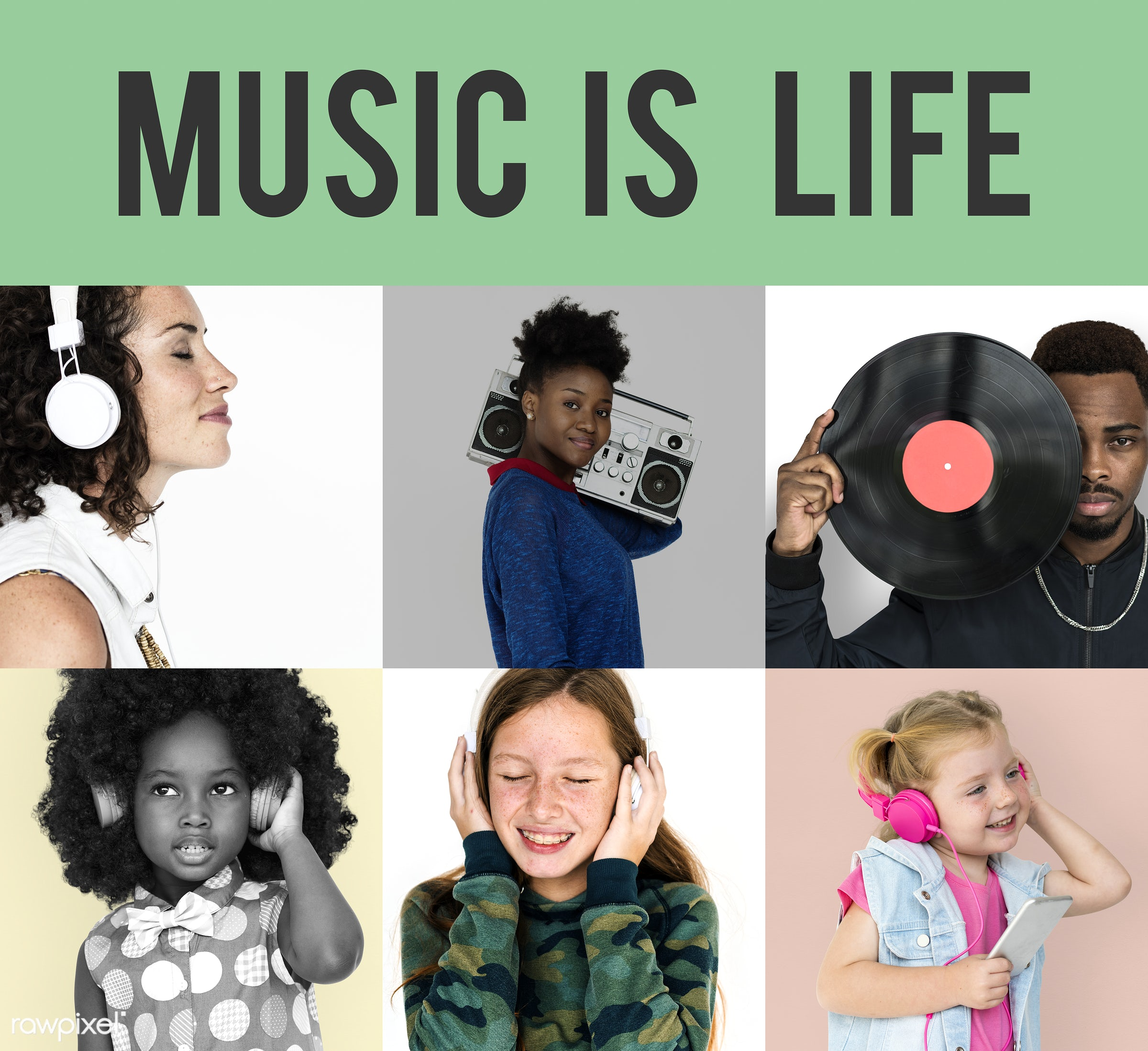 studio, song, relax, set, variation, collection, recreation, people, headphone, face expression, child, playing, woman,...