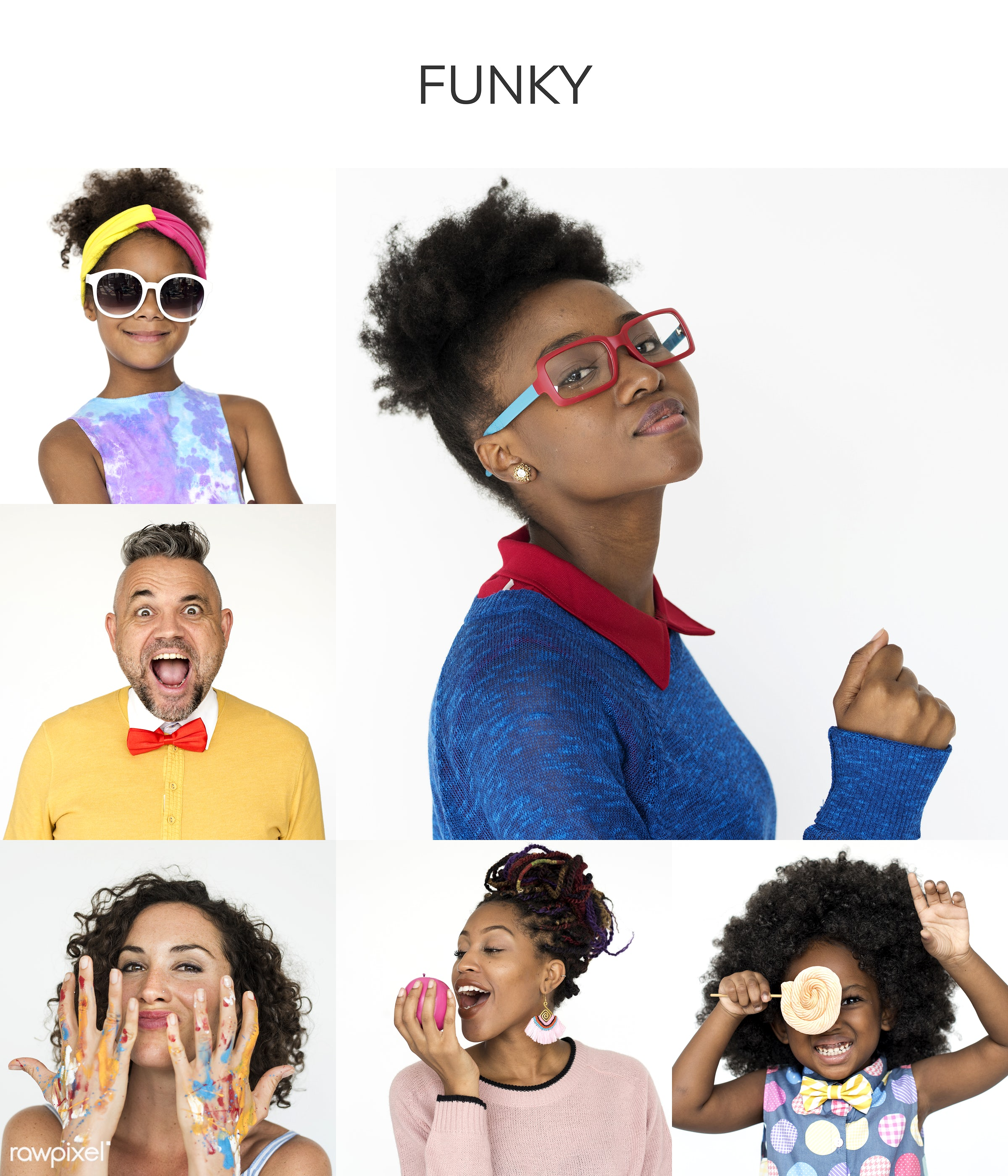 studio, playful, funky, diverse, set, children, collection, hilarious, people, kid, face expression, nerd, style, crazy,...