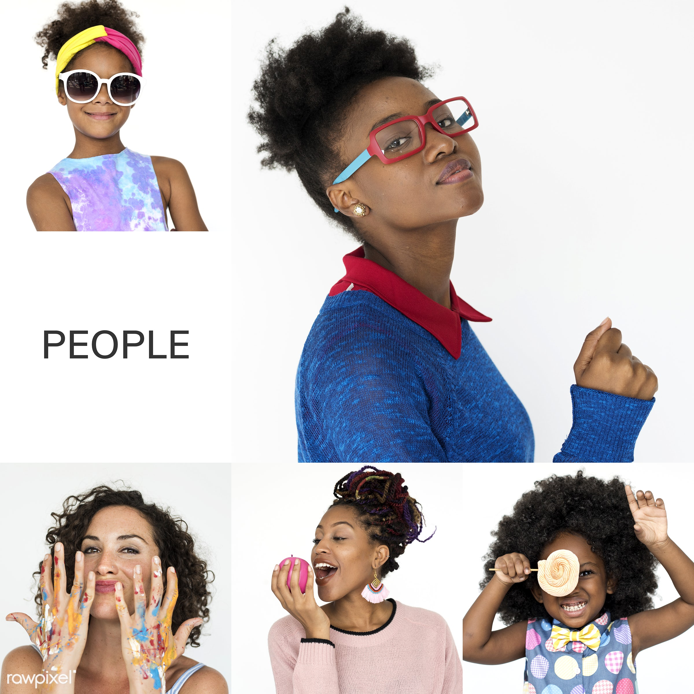 studio, playful, diverse, set, children, collection, hilarious, people, kid, face expression, nerd, style, crazy, woman,...
