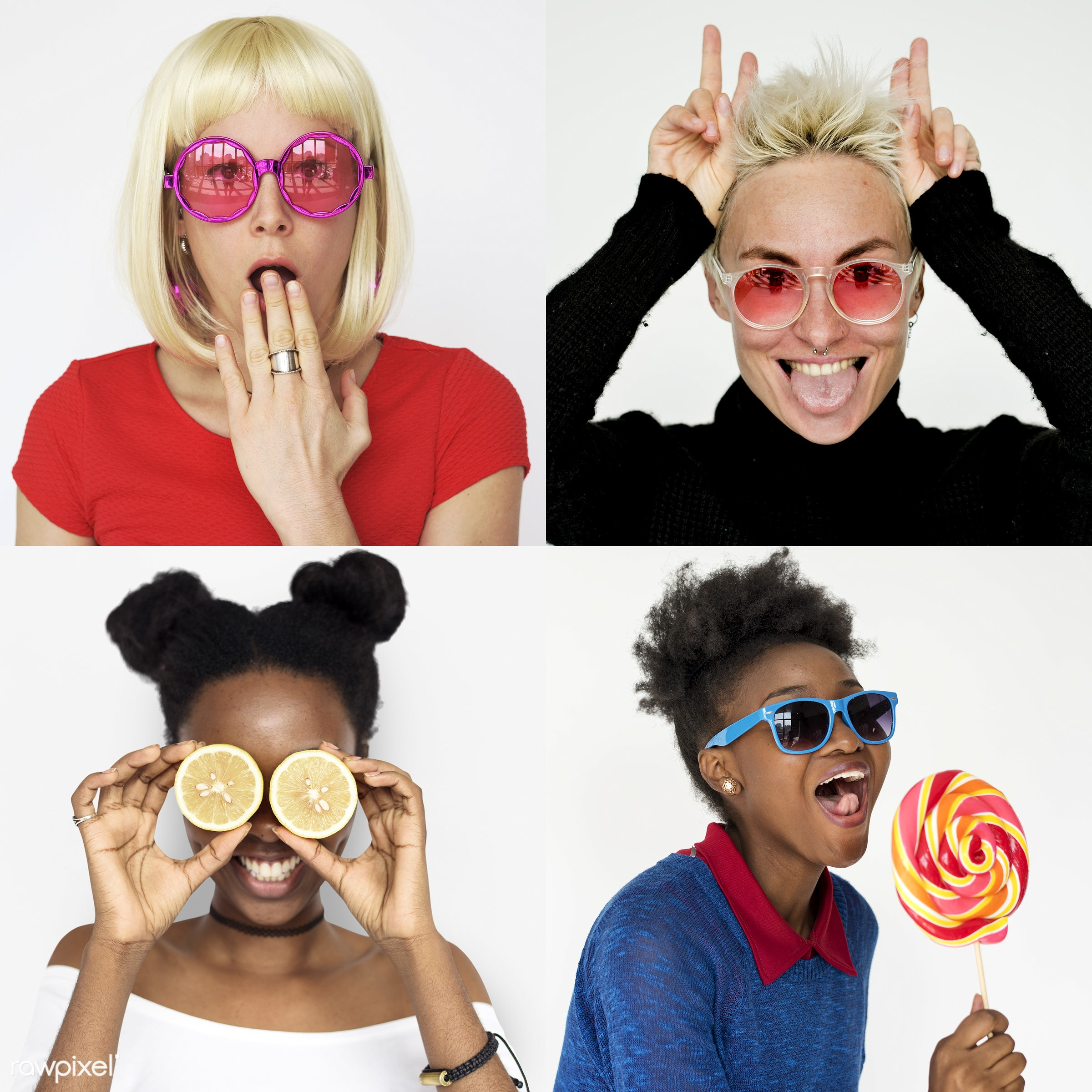 Set of portraits of funky looking people - studio, playful, diverse, set, collection, hilarious, people, face expression,...