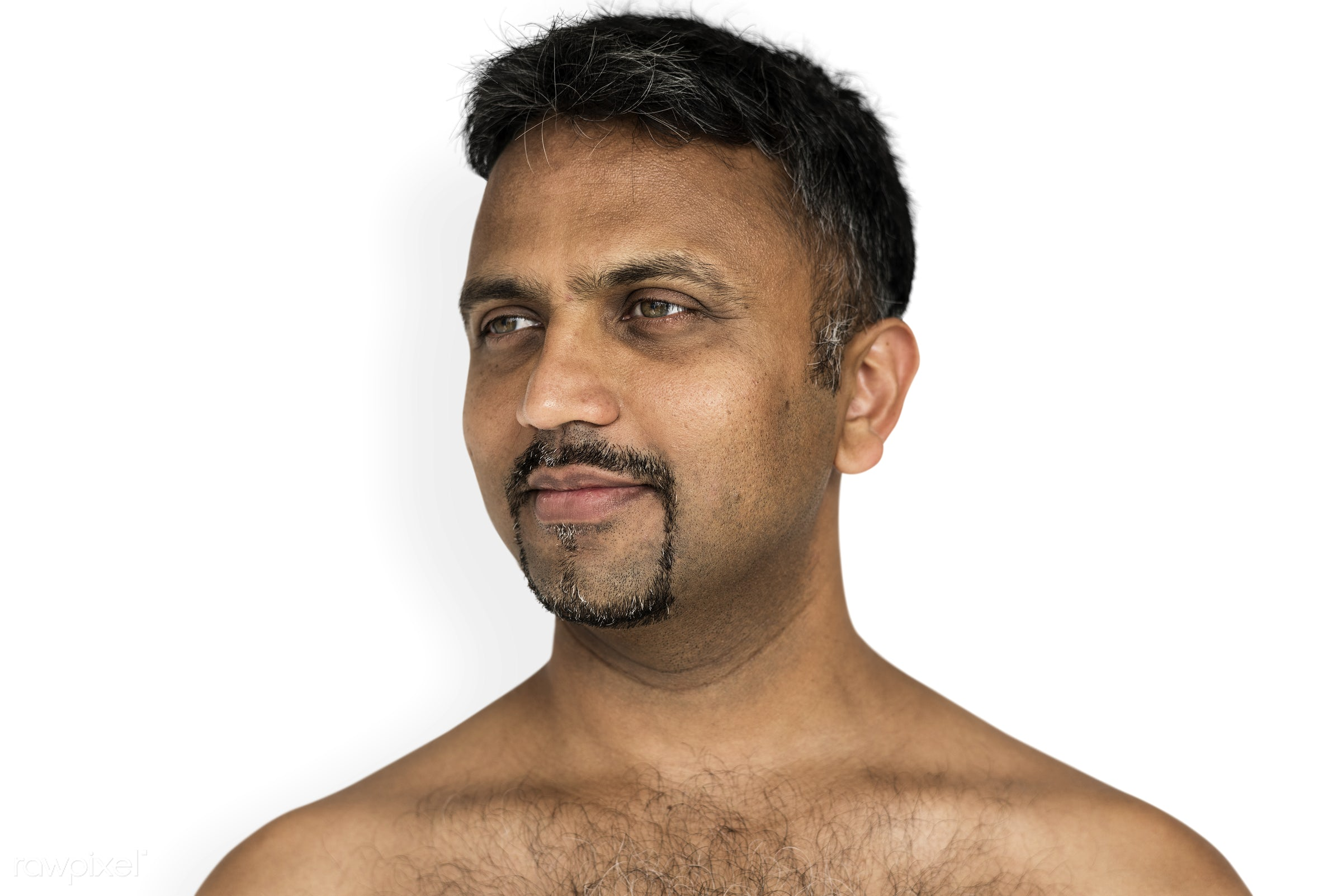studio, face, person, isolated on white, joy, indian ethnicity, people, looking, bare chest, solo, happy, smile, cheerful,...