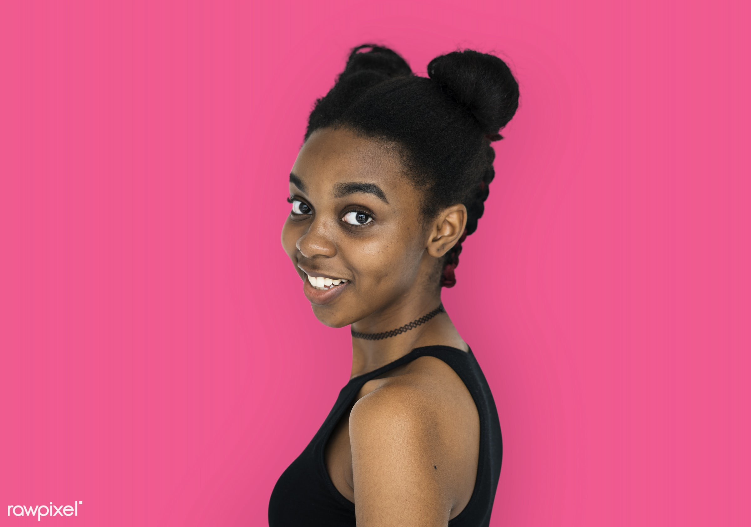 expression, studio, person, people, woman, pink, smile, cheerful, smiling, isolated, buns, african descent, happiness,...