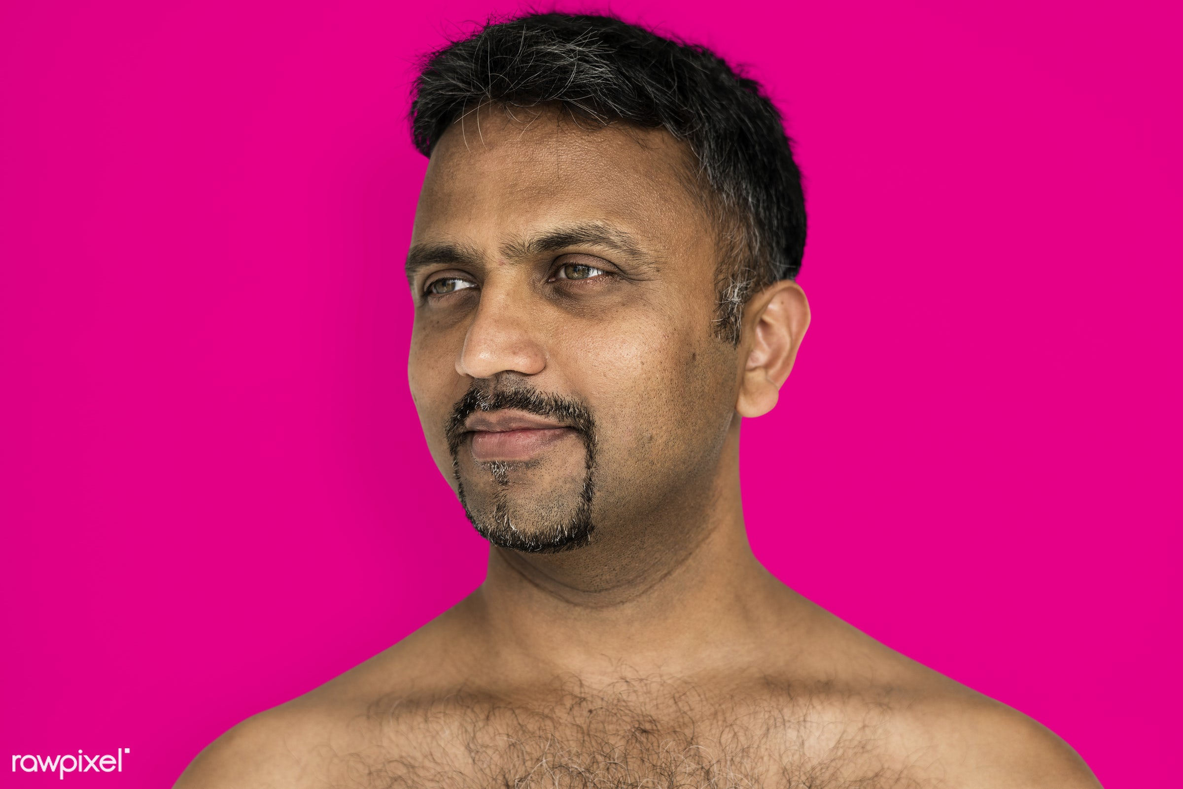 studio, face, person, joy, indian ethnicity, people, looking, bare chest, solo, happy, pink, smile, cheerful, man, smiling,...