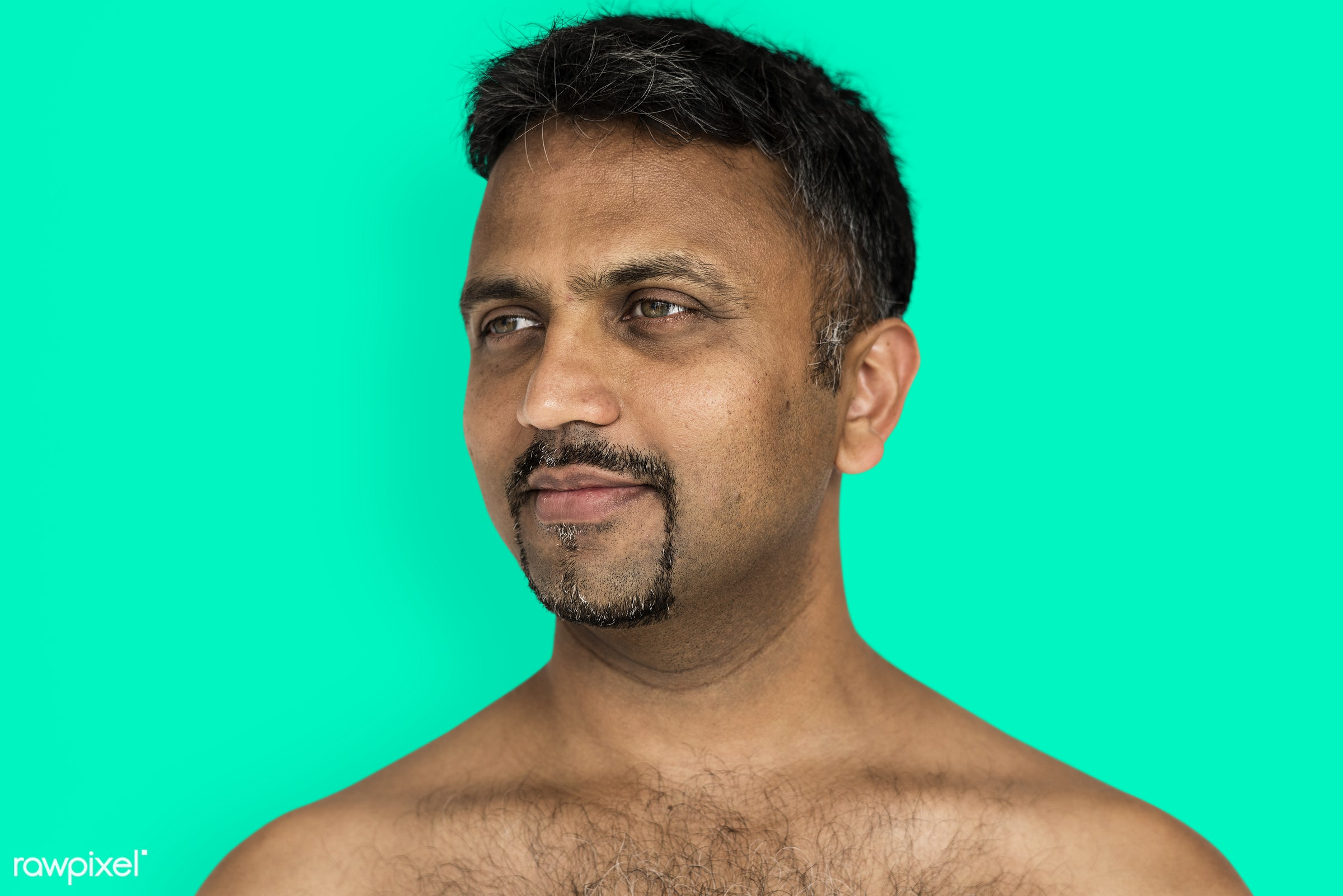 studio, face, person, joy, indian ethnicity, people, bare chest, looking, solo, happy, smile, cheerful, man, smiling,...