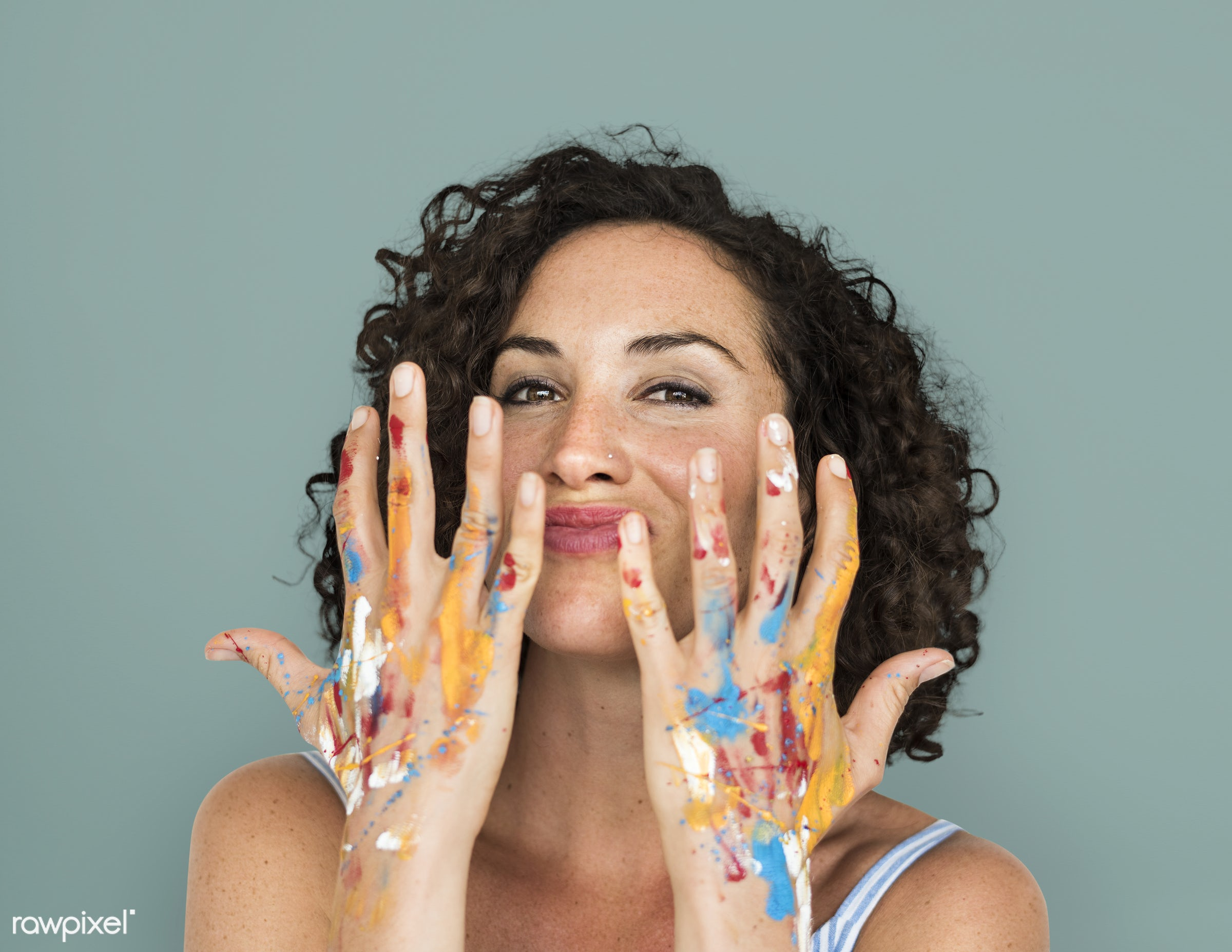 studio, expression, person, arts, curly hairstyle, people, curly, woman, smile, cheerful, smiling, isolated, human hand,...