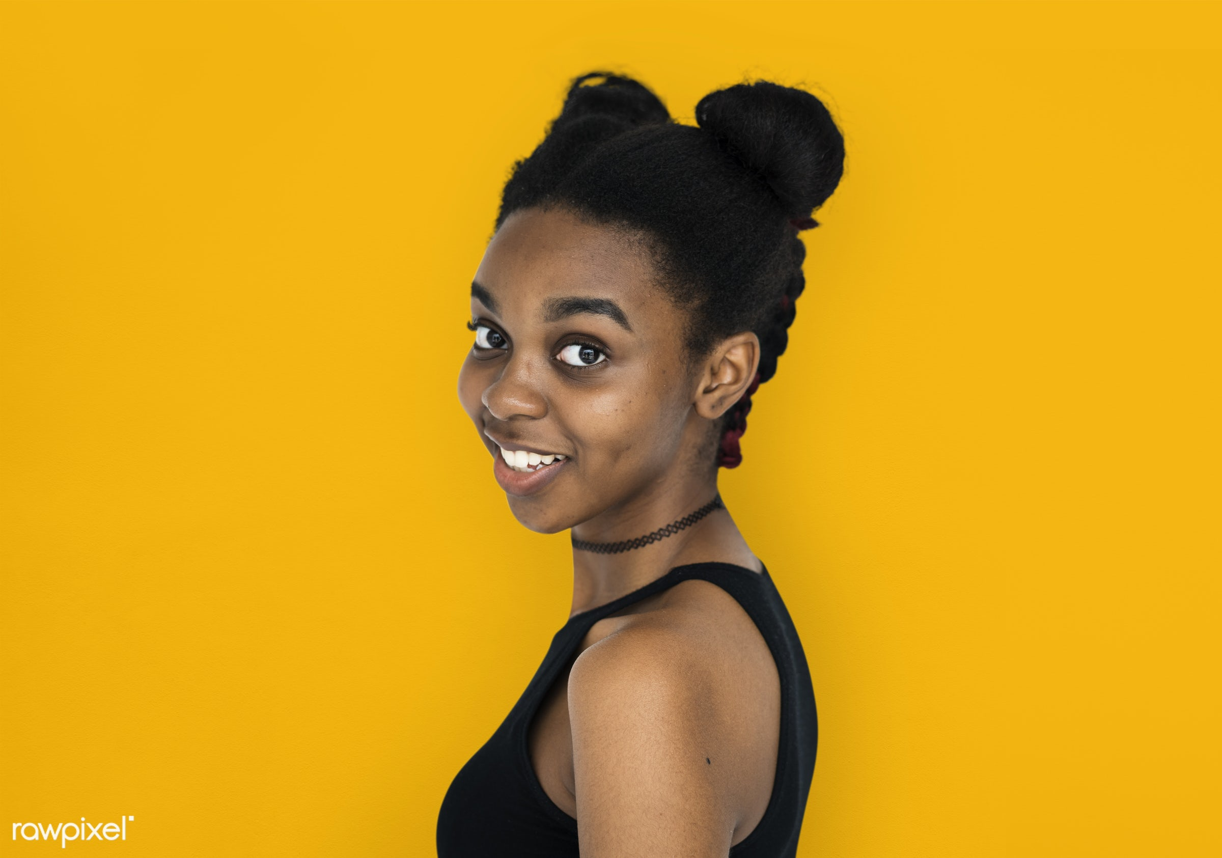 expression, studio, person, yellow, people, woman, smile, cheerful, smiling, orange, isolated, buns, african descent,...