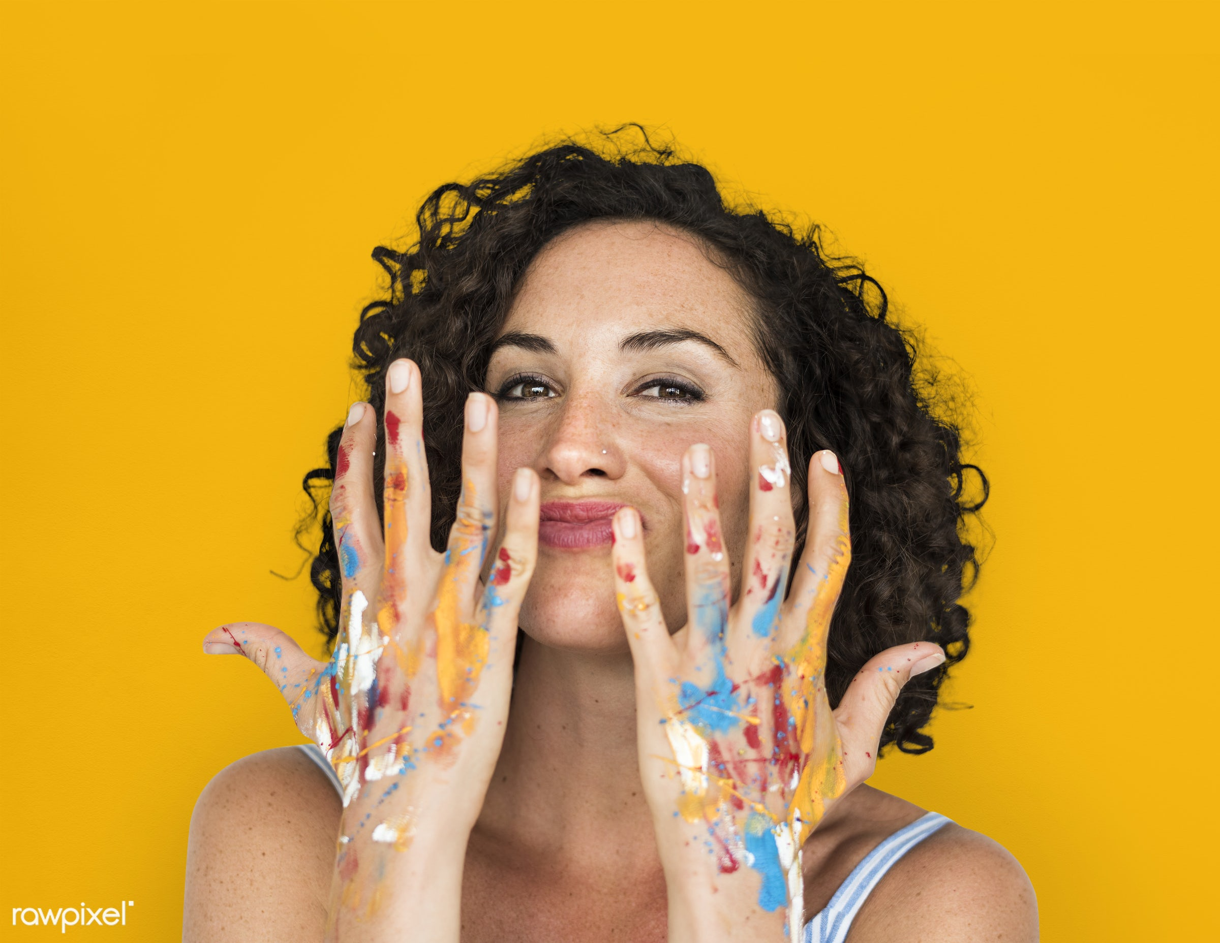 studio, expression, person, arts, curly hairstyle, yellow, people, curly, woman, smile, cheerful, smiling, isolated, orange...