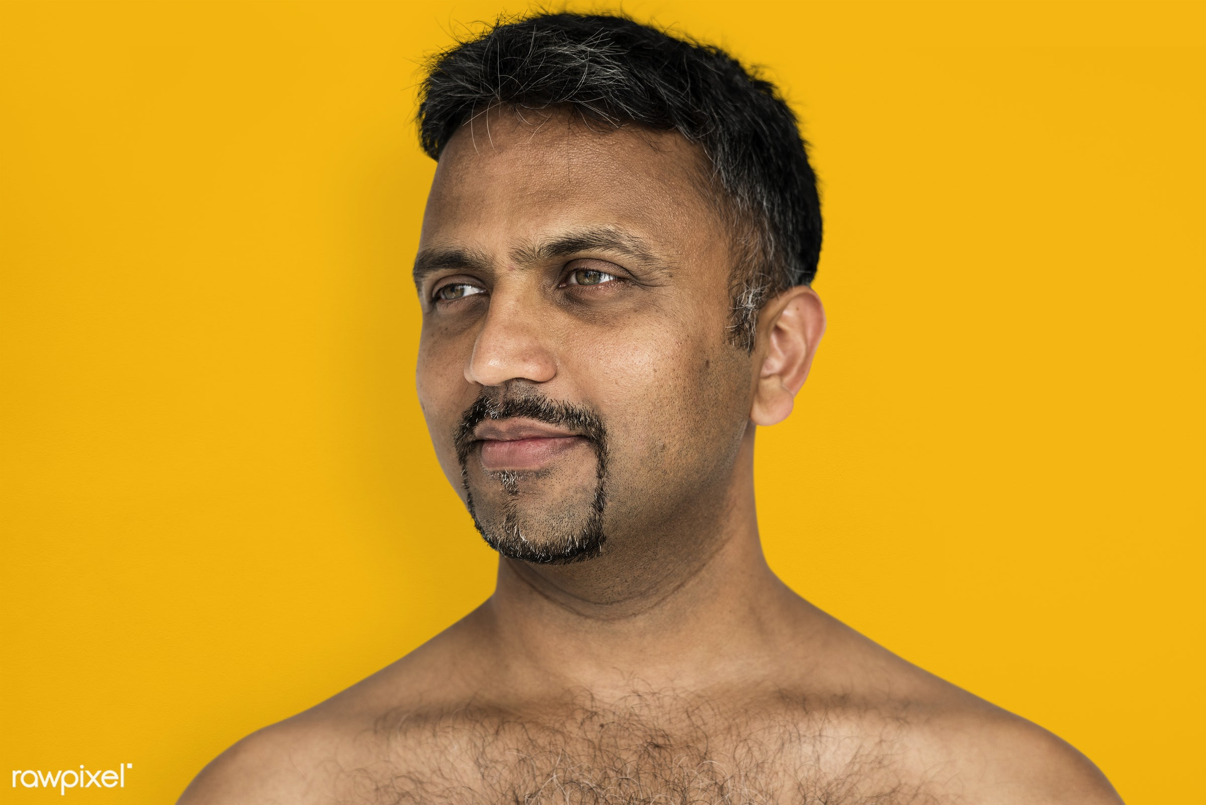 studio, face, person, joy, indian ethnicity, yellow, people, looking, bare chest, solo, happy, smile, cheerful, man, smiling...