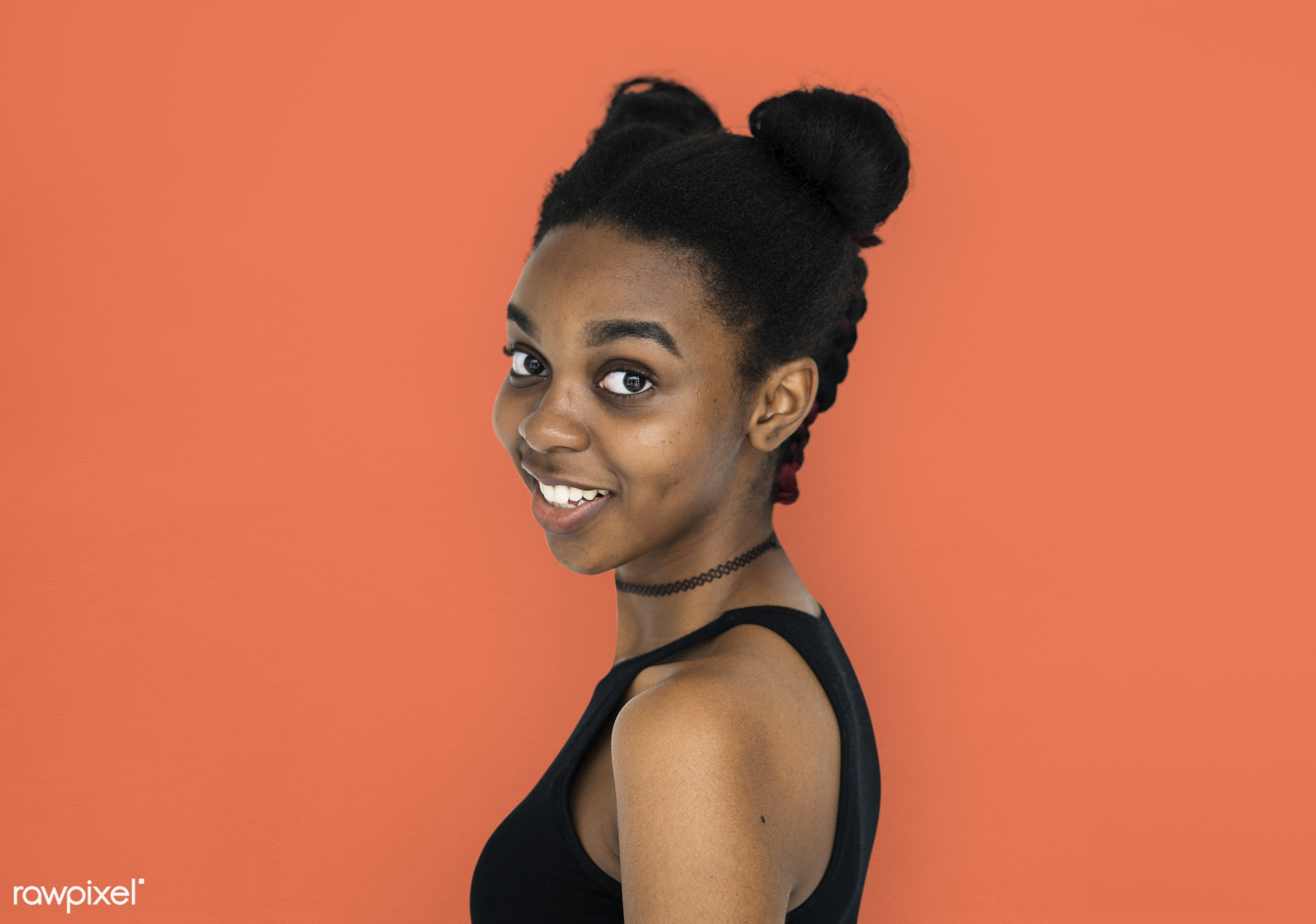 expression, studio, person, people, woman, smile, cheerful, smiling, orange, isolated, buns, african descent, happiness,...