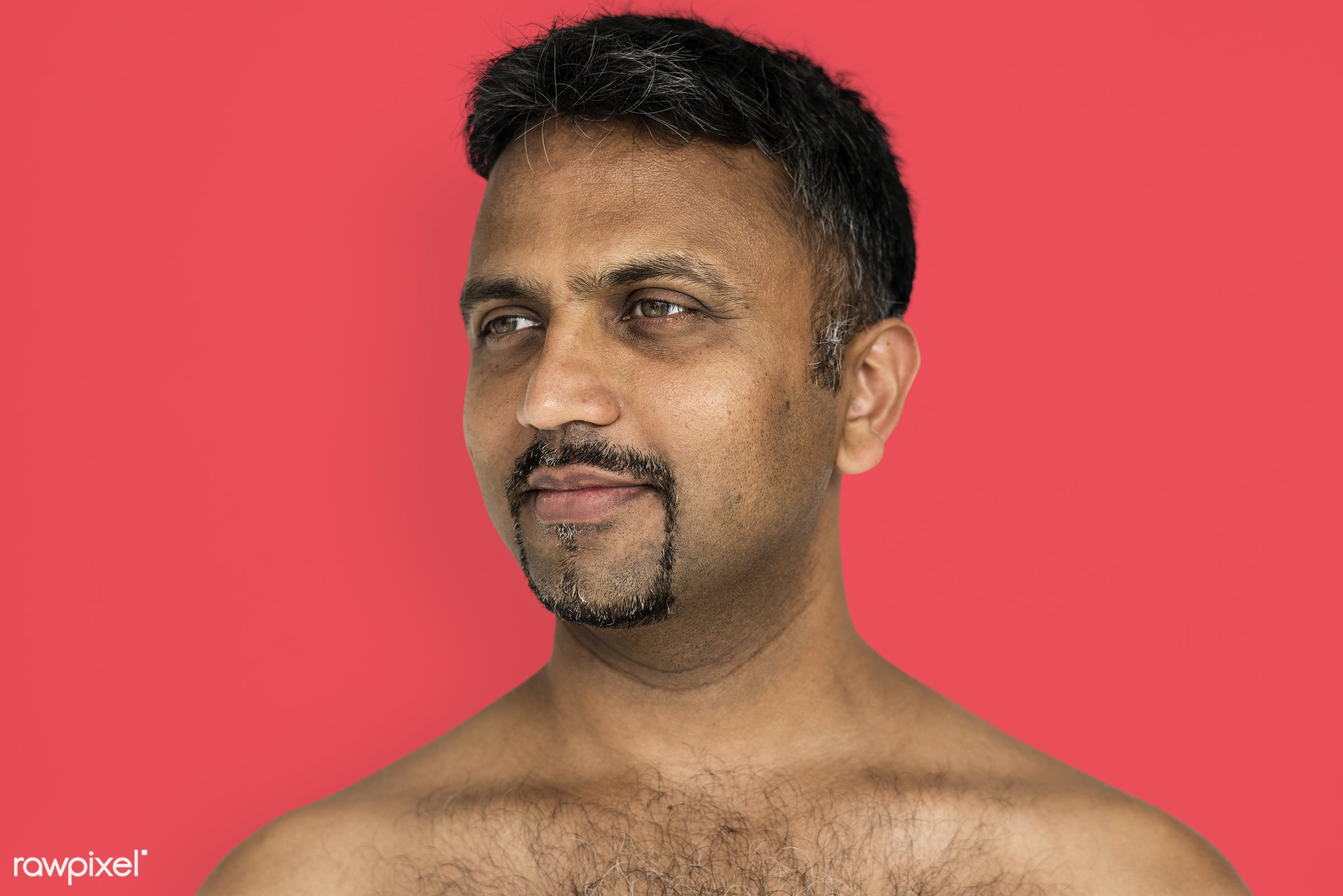 studio, face, person, joy, indian ethnicity, people, looking, bare chest, solo, happy, smile, cheerful, man, smiling,...