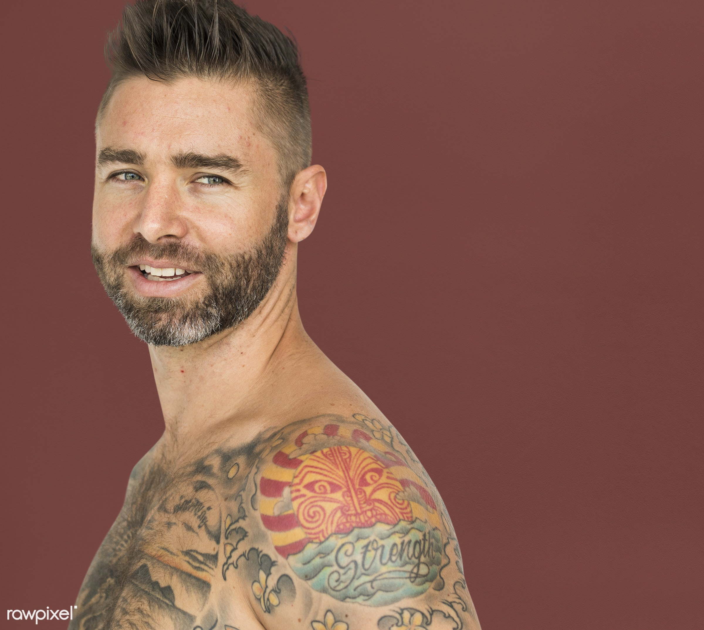 studio, expression, person, show, people, caucasian, solo, lifestyle, smile, tattoo, isolated, art, happiness, portrait,...